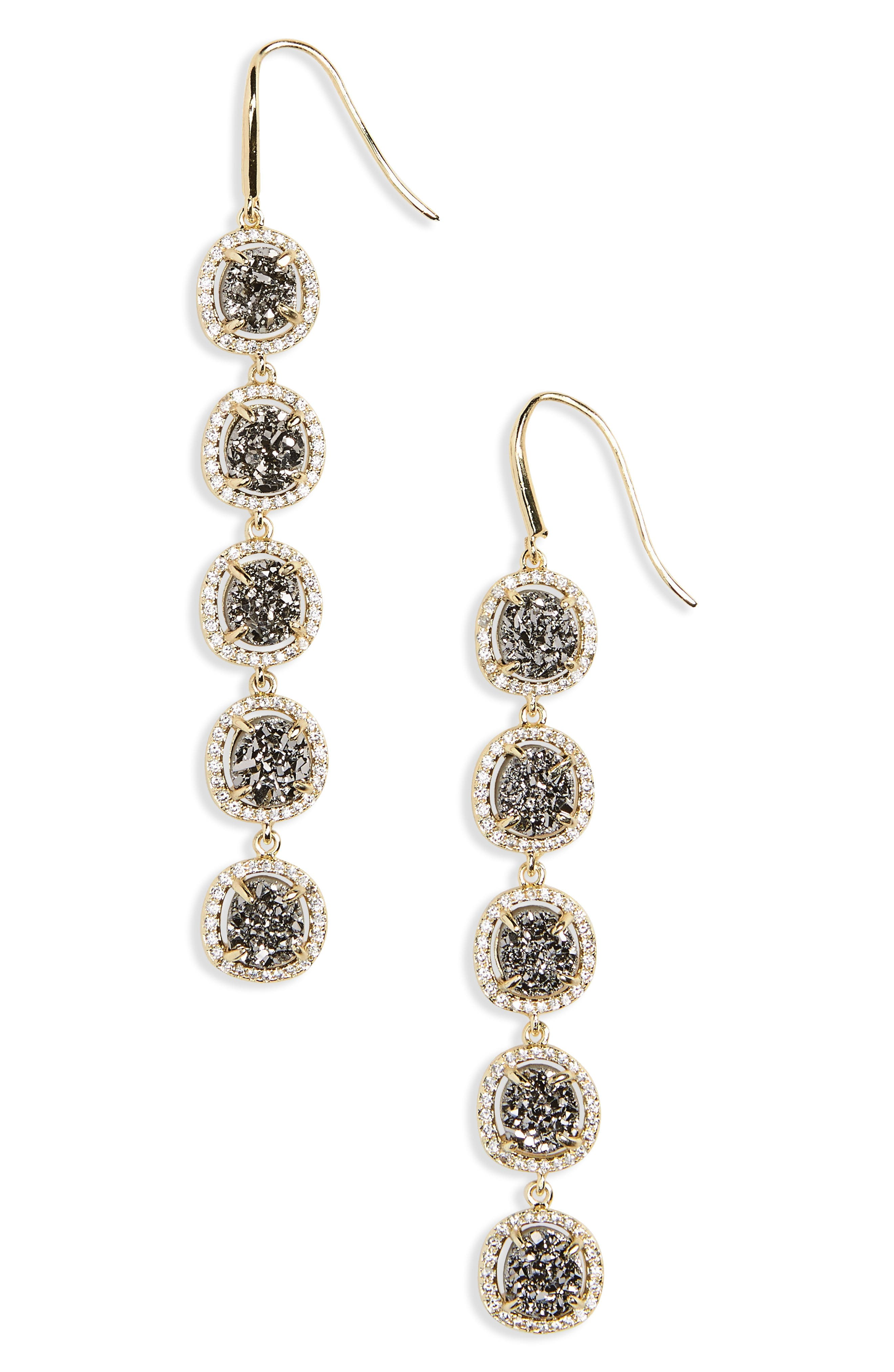 Meredith Drop Earrings,                             Main thumbnail 1, color,                             Grey Druzy/ Gold
