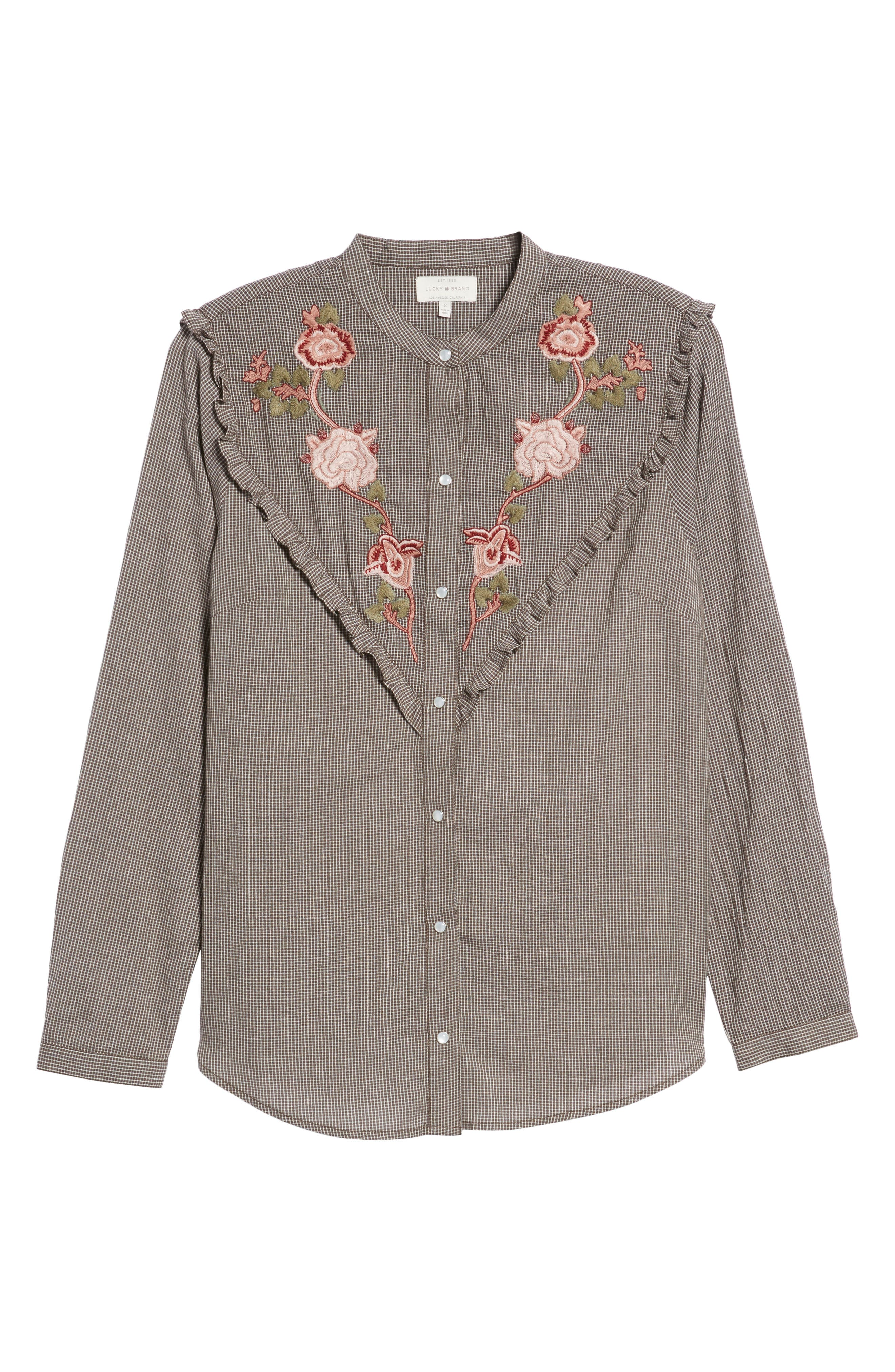 Embroidered Western Shirt,                             Alternate thumbnail 6, color,                             Grey Multi