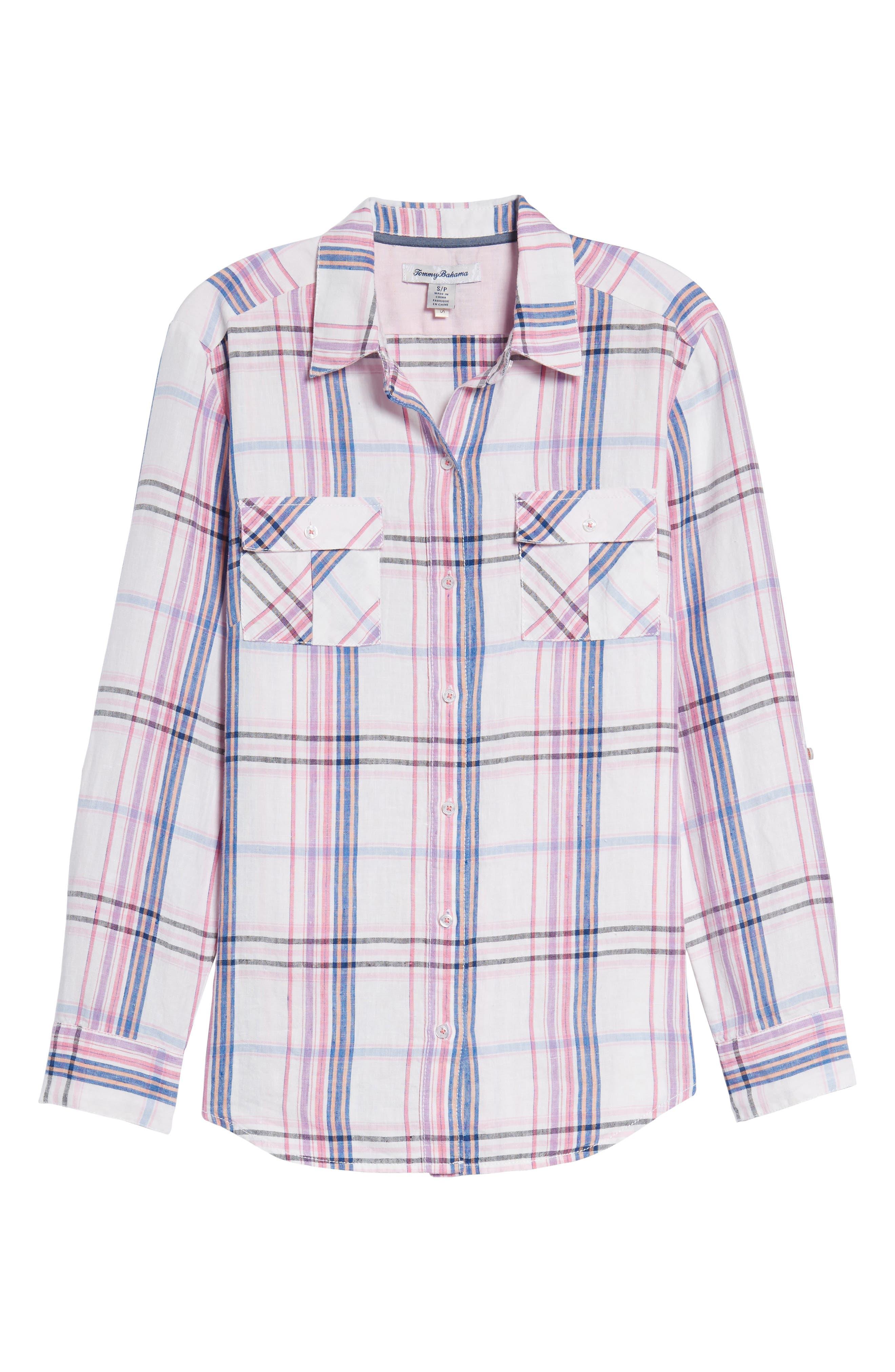 Alternate Image 6  - Tommy Bahama Palazzo Plaid Shirt