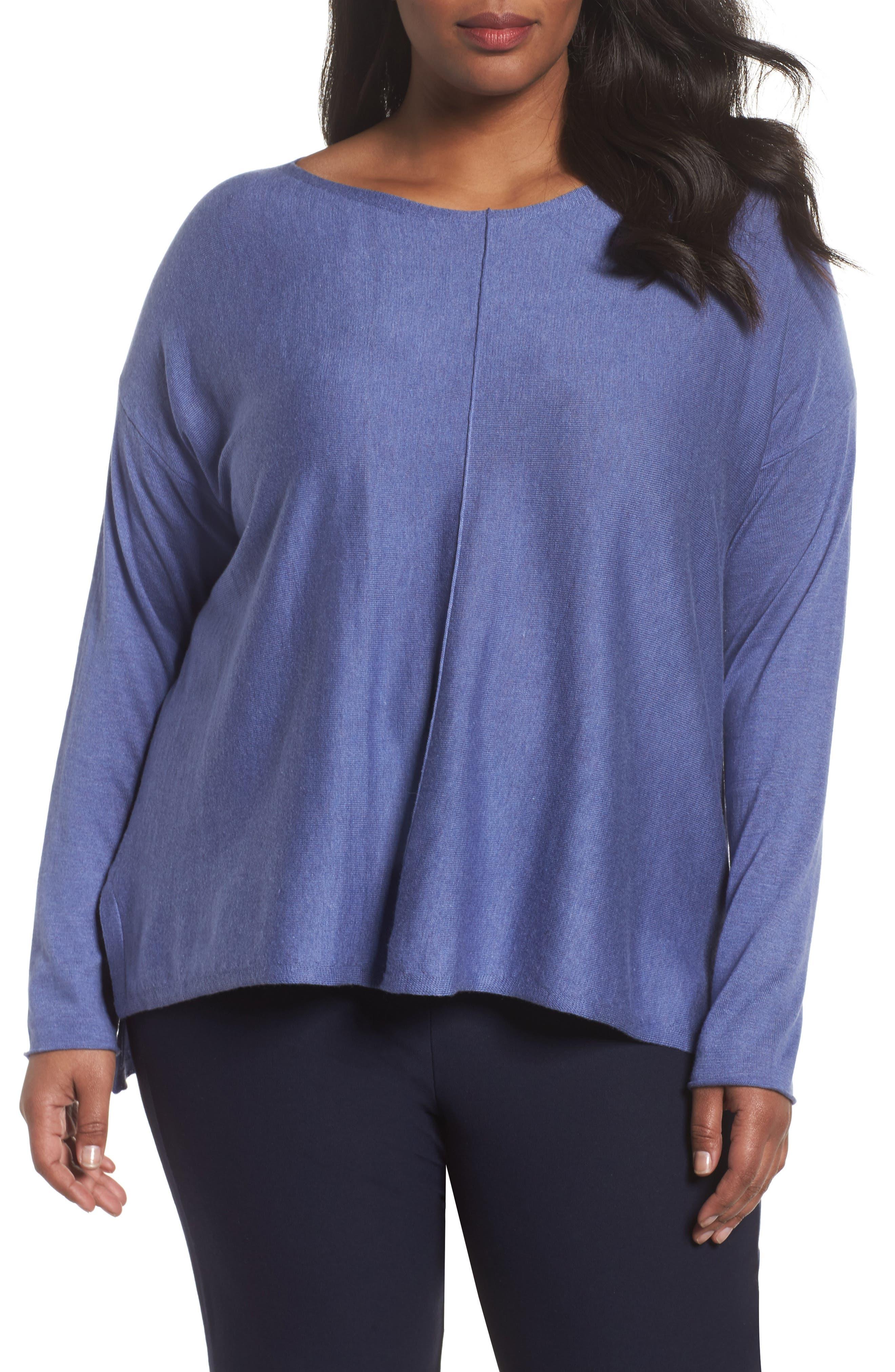 Main Image - Eileen Fisher Tencel® Lyocell Blend Sweater (Plus Size)