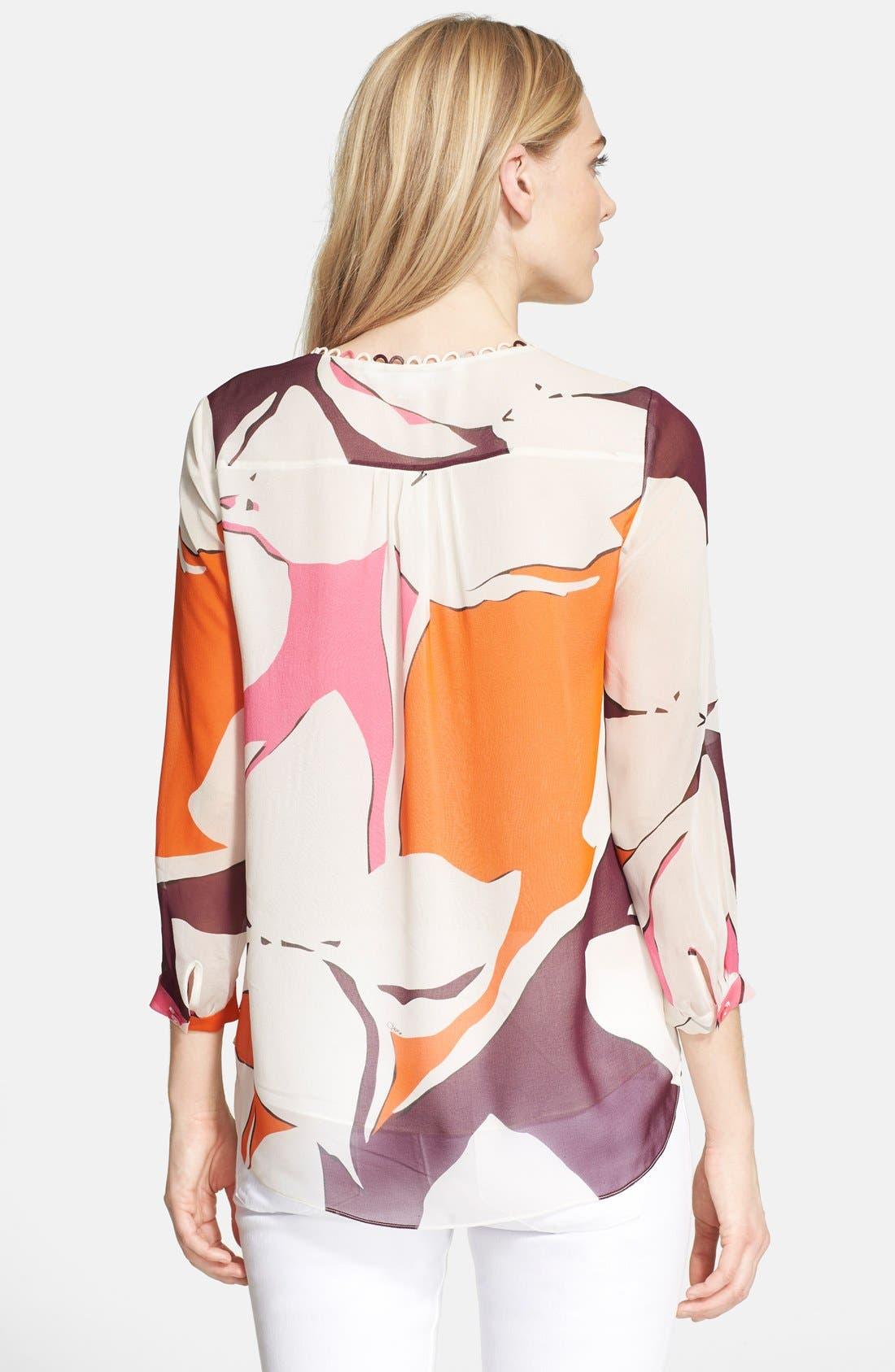 'Camden' Floral Print Silk Top,                             Alternate thumbnail 2, color,                             Eden Garden Multi