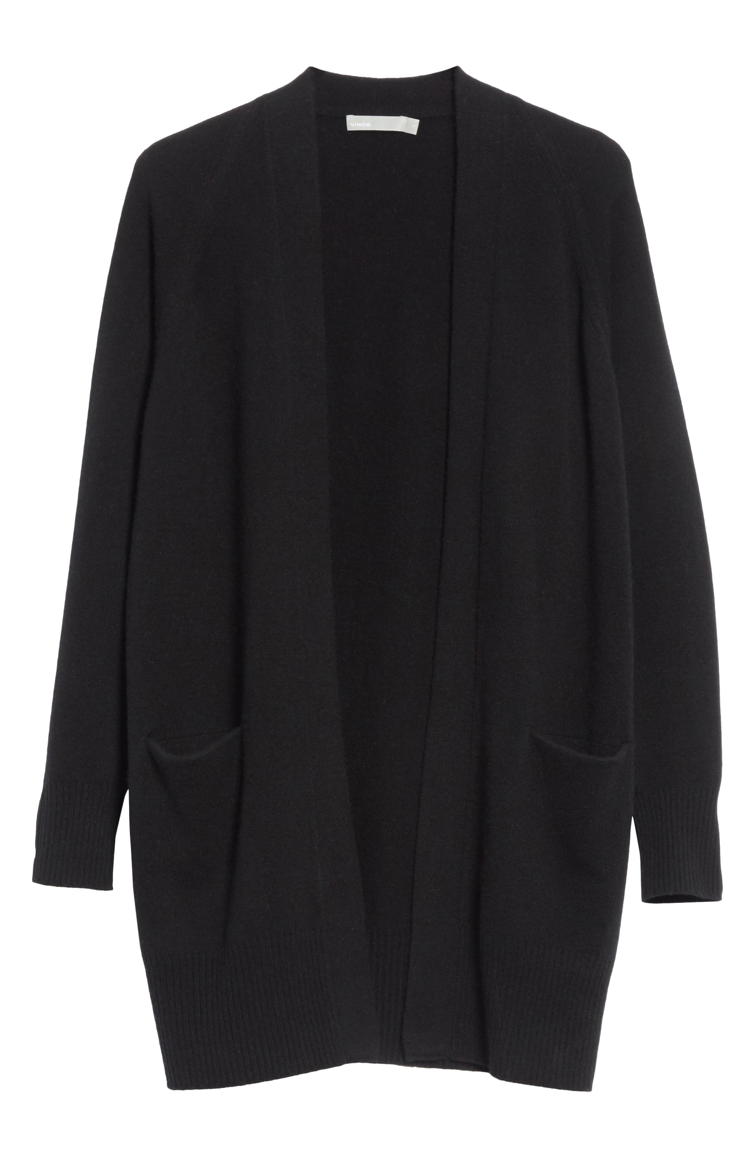 Open Front Cashmere Long Cardigan,                             Alternate thumbnail 6, color,                             Black