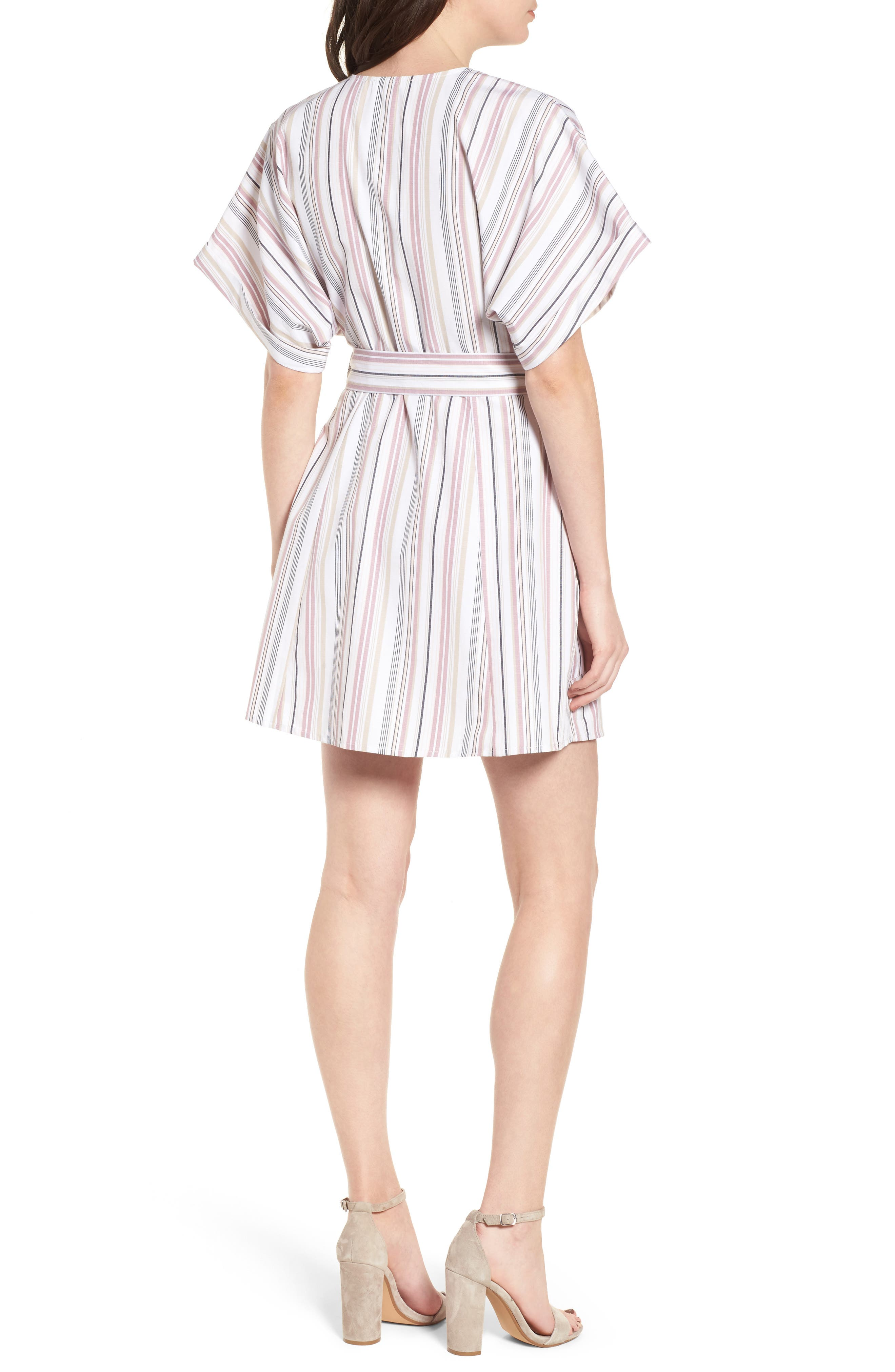 Button Front Dress,                             Alternate thumbnail 2, color,                             Pink Adobe Tracy Stripe