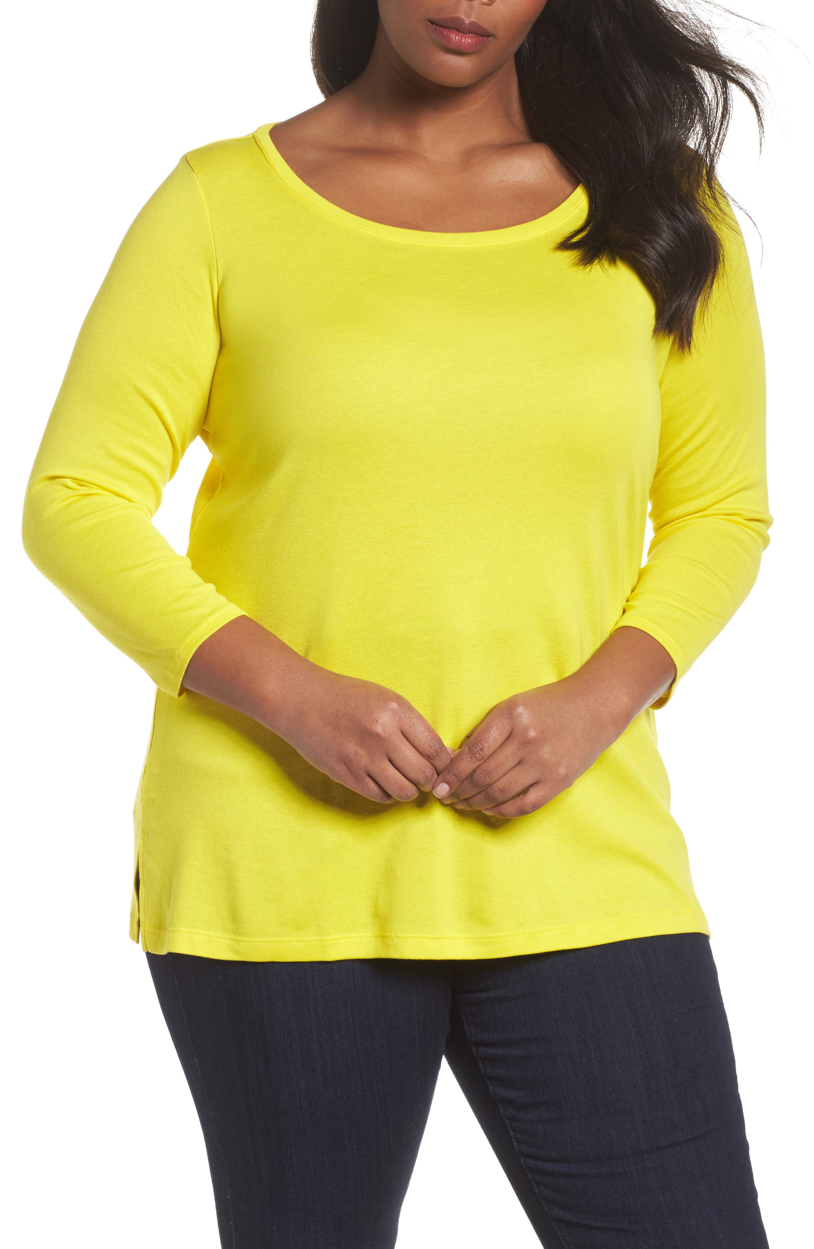 Ballet Neck Rib Knit Tee,                         Main,                         color, Yellow Vibrant