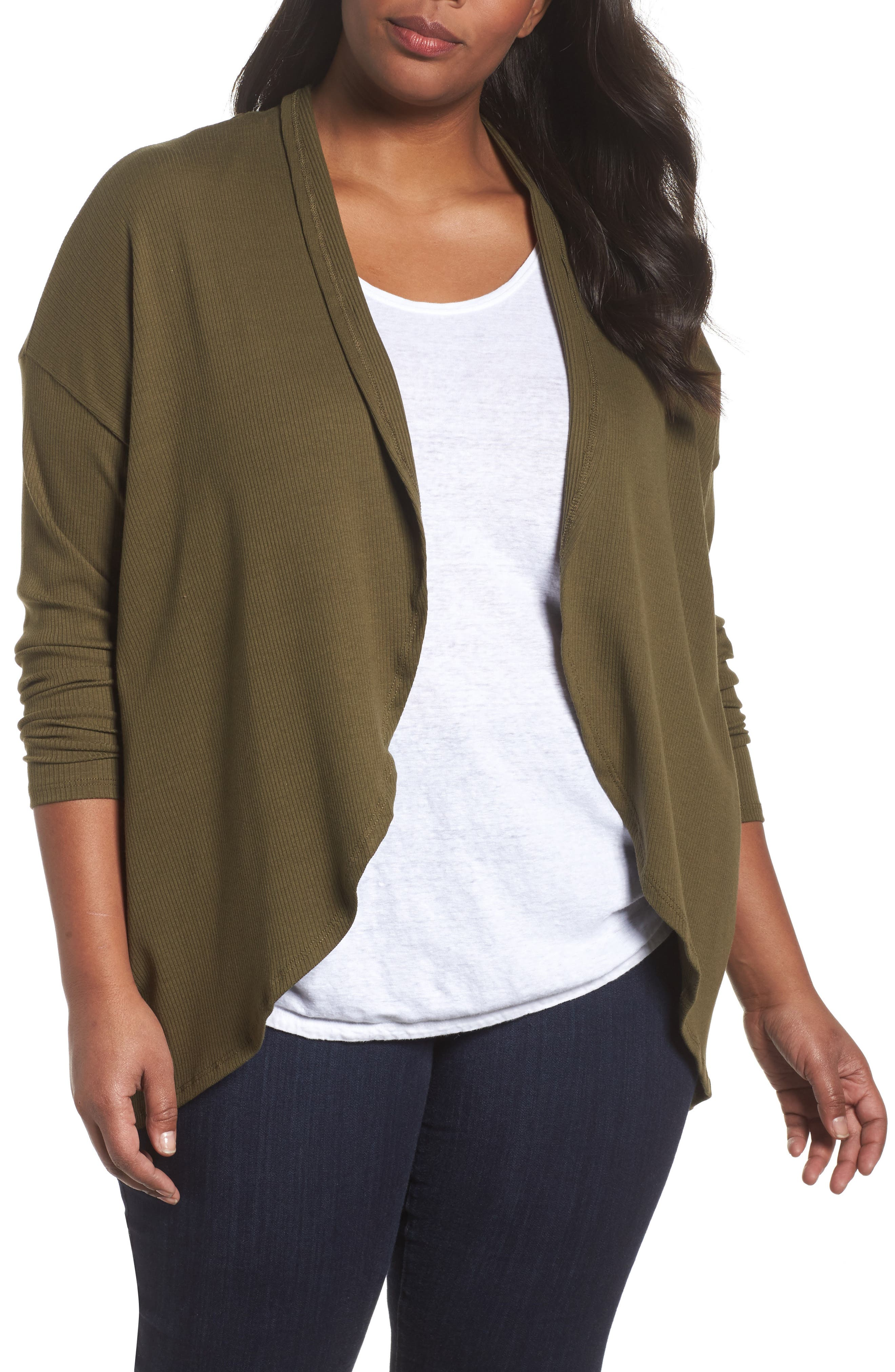Ribbed Cocoon Cardigan,                         Main,                         color, Olive Dark