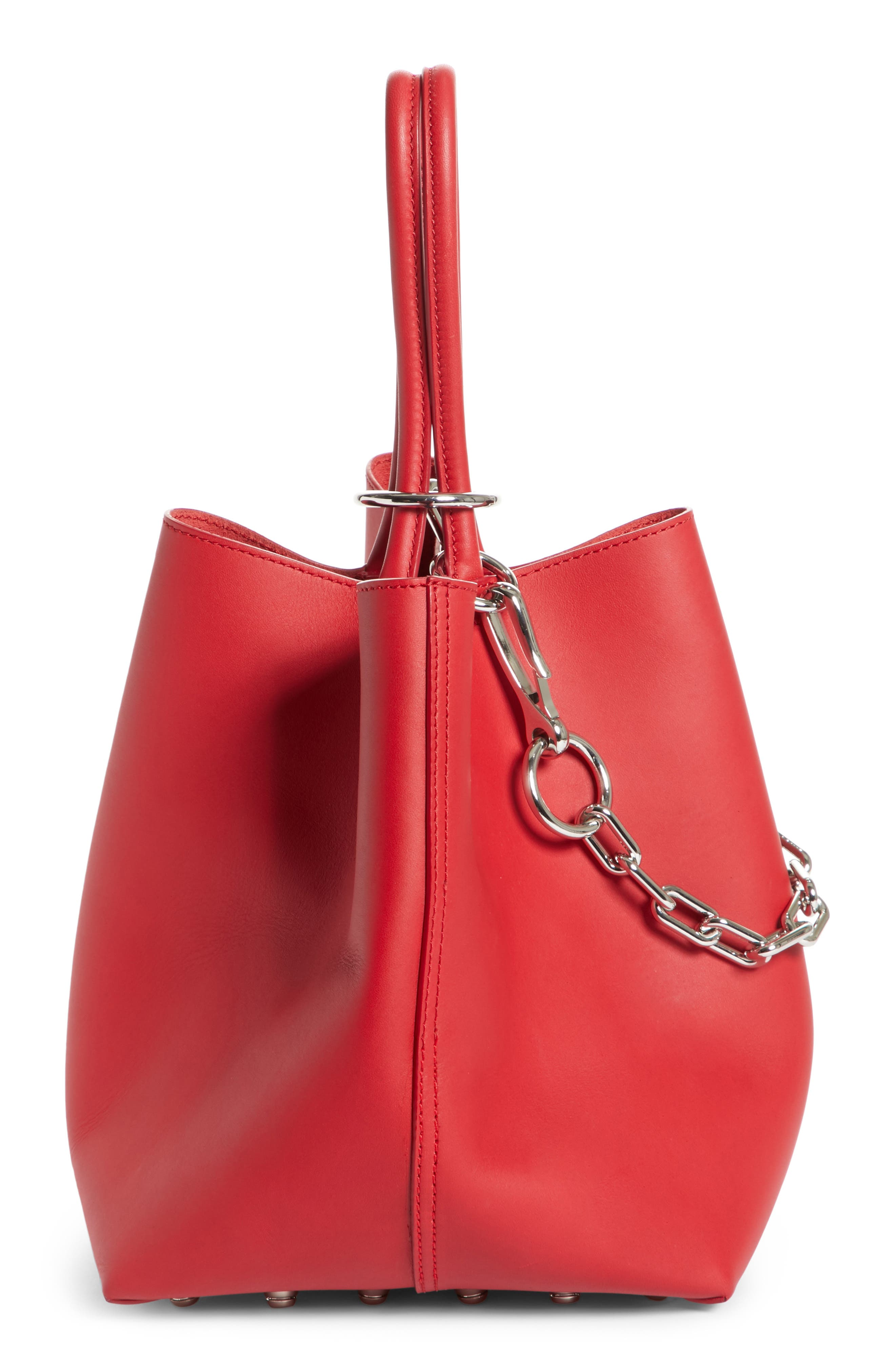 Small Roxy Leather Bucket Bag,                             Alternate thumbnail 4, color,                             Lipstick
