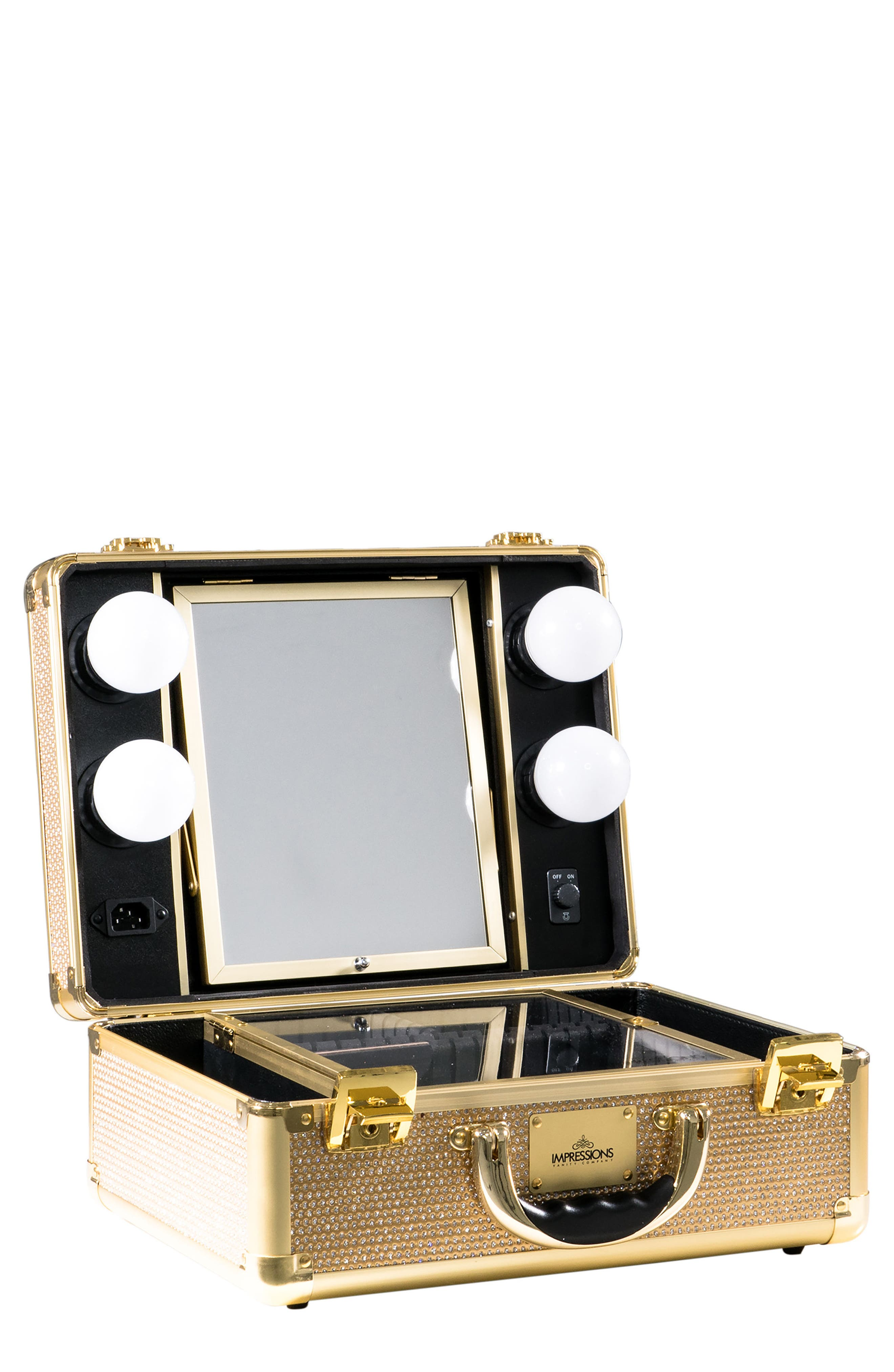 SlayCase<sup>™</sup> Vanity Travel Case,                             Main thumbnail 1, color,                             Sparkling Gold