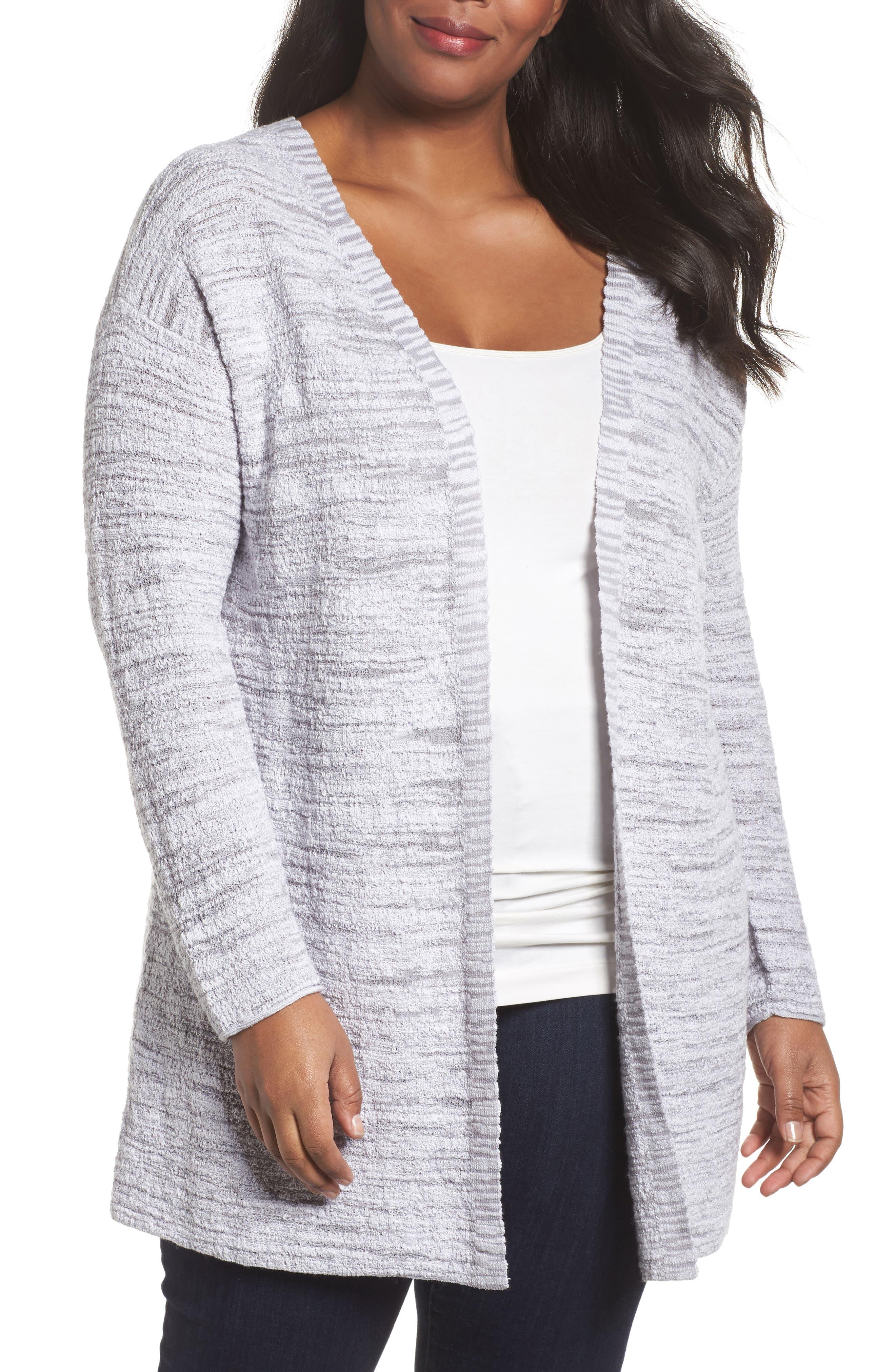 Main Image - NIC+ZOE Lace It Back Cardigan (Plus Size)