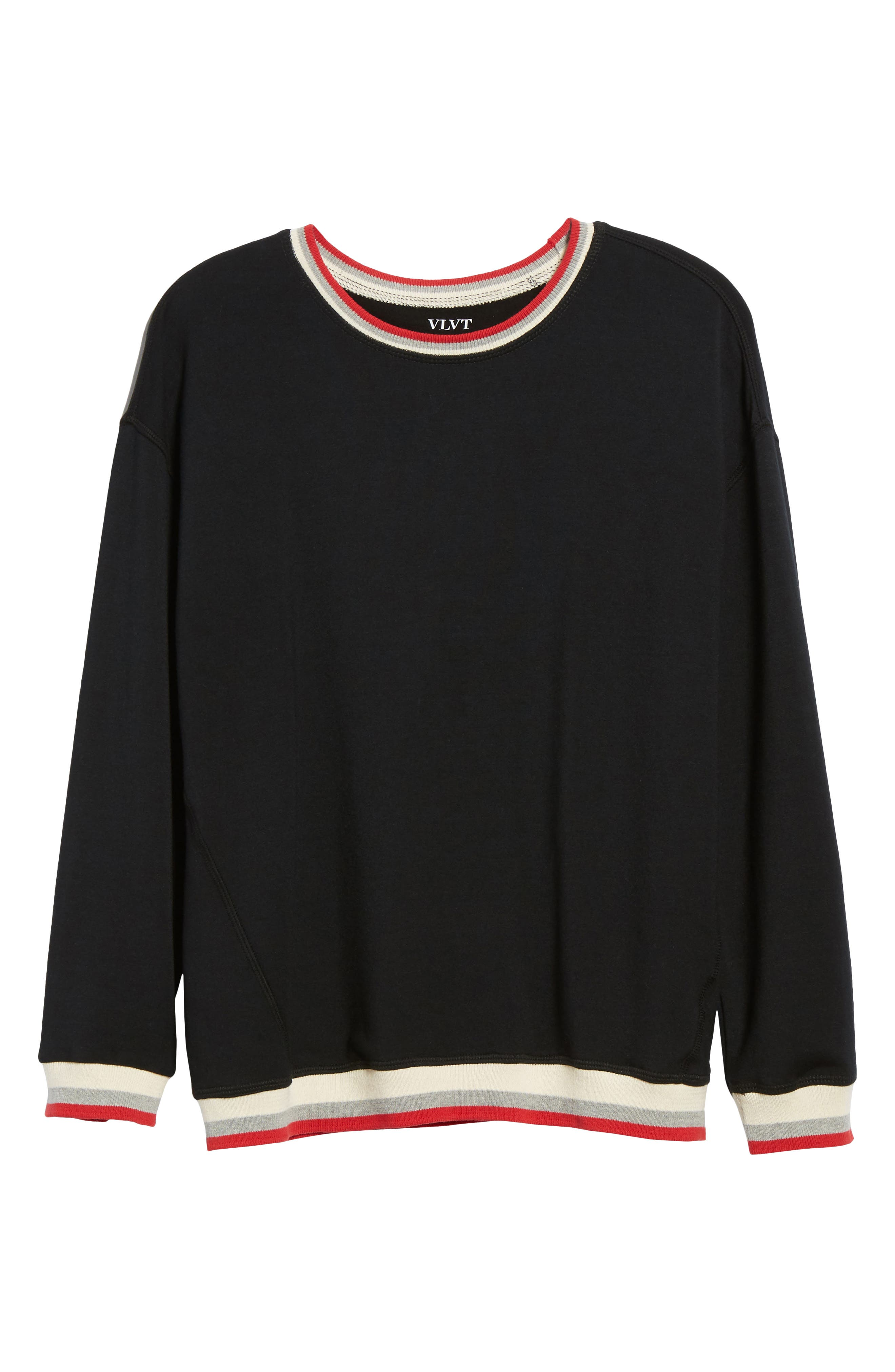 Stripe Trim Pullover,                             Alternate thumbnail 6, color,                             Black