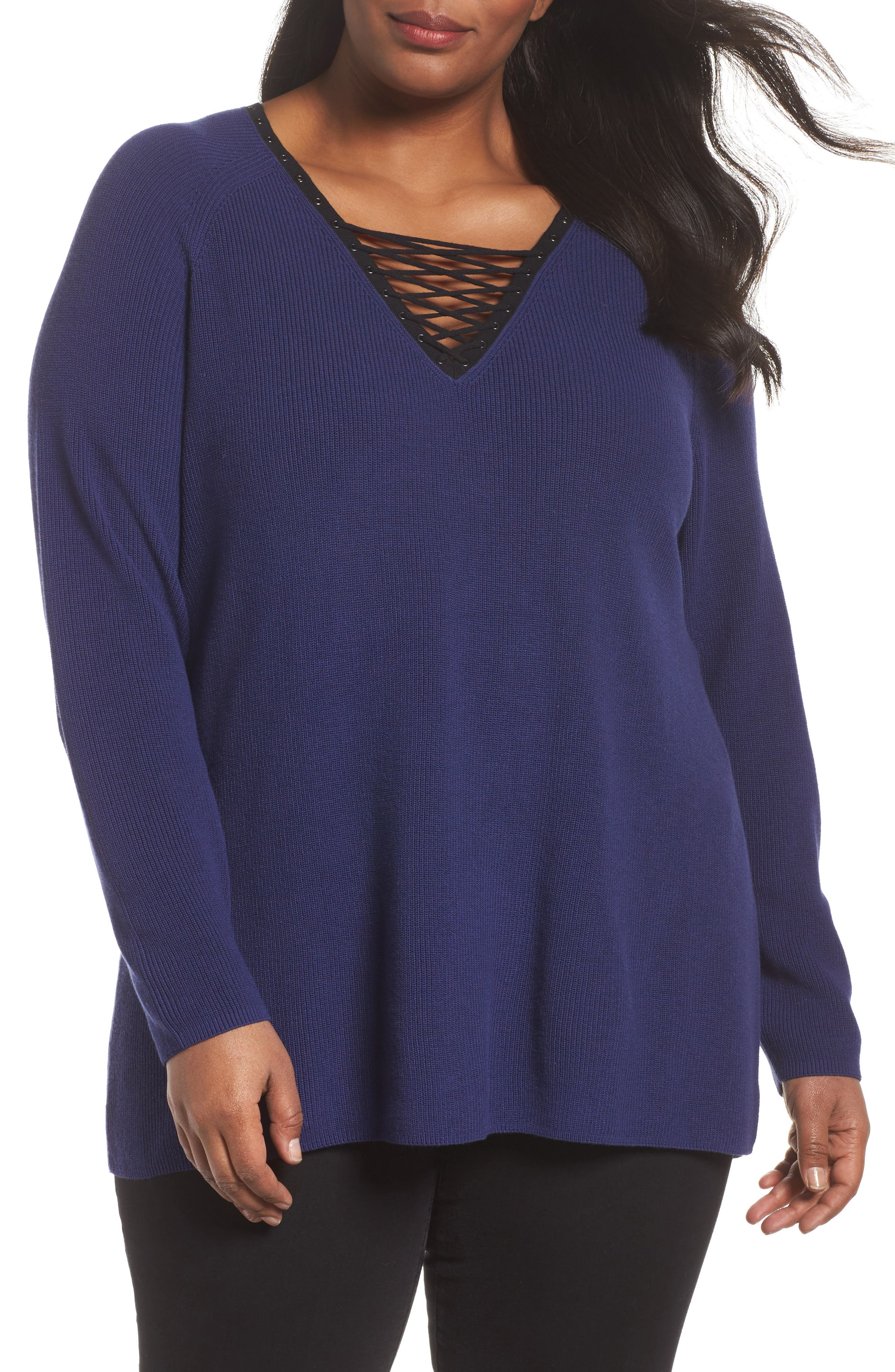 Main Image - NIC+ZOE A Little Edge Lace-Up V-Neck Sweater (Plus Size)