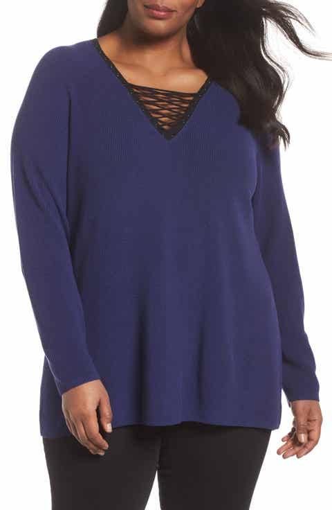 NIC+ZOE A Little Edge Lace-Up V-Neck Sweater (Plus Size)