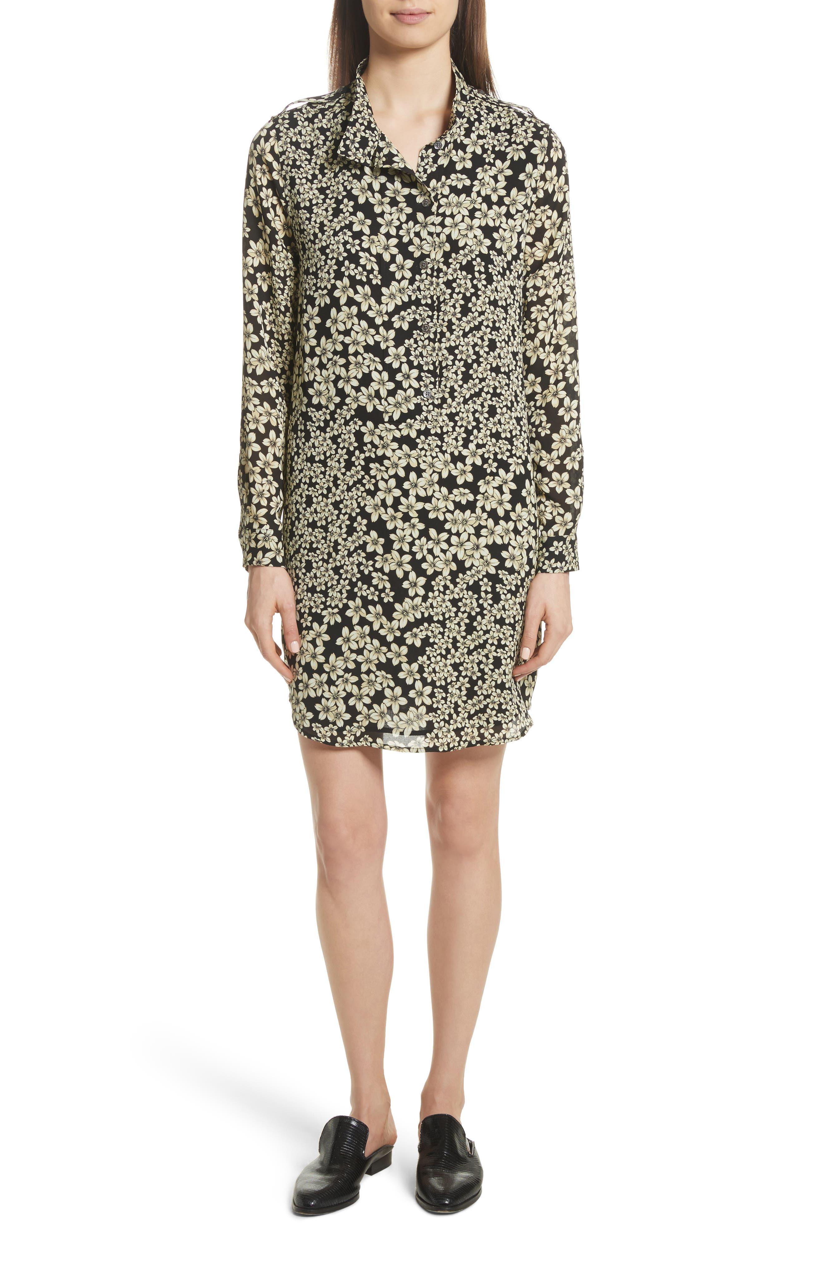 Freda Floral Print Silk Shirtdress,                         Main,                         color, True Black Multi