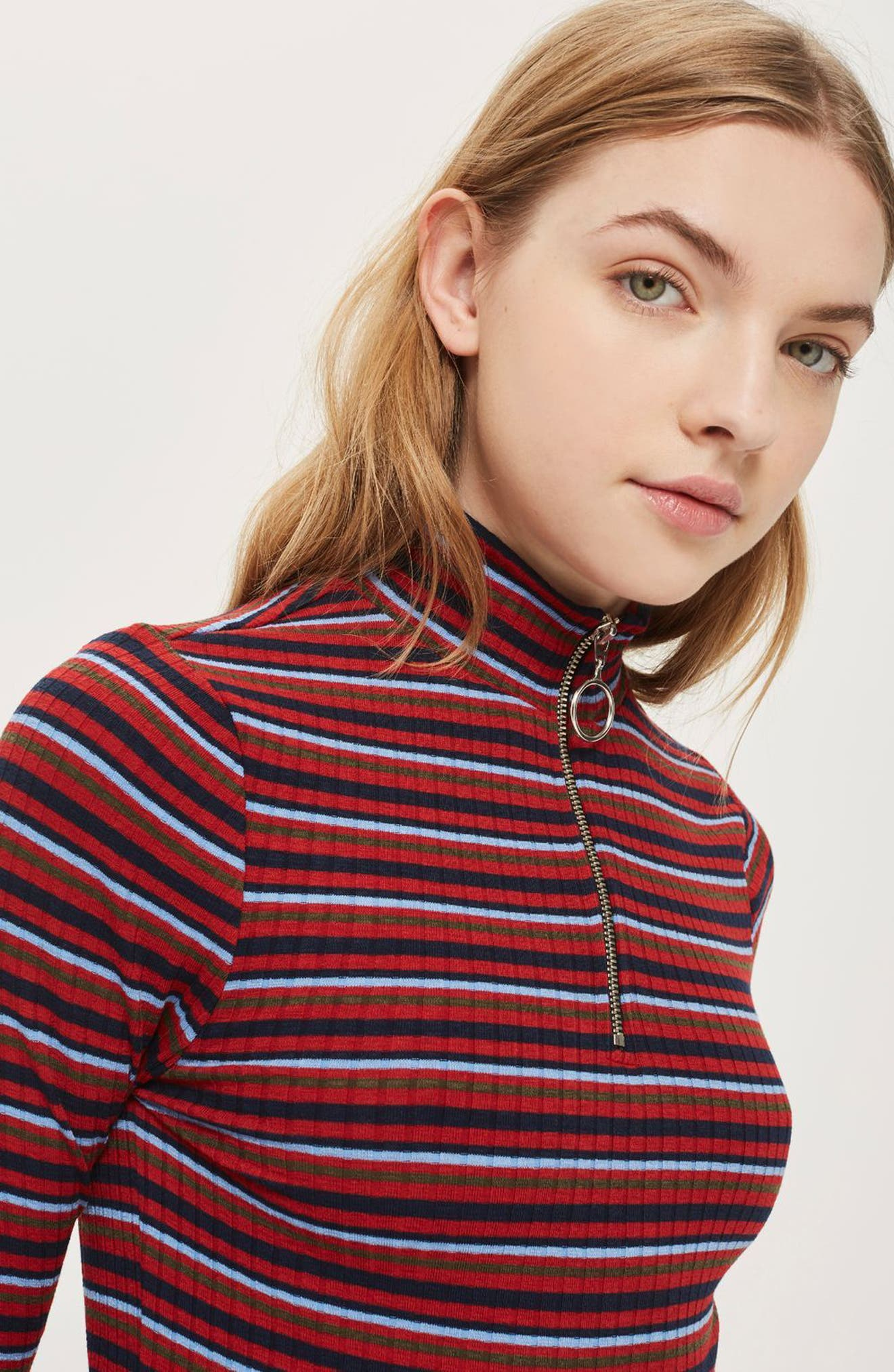 Quarter Zip Mock Neck Sweater,                             Alternate thumbnail 3, color,                             Red Multi