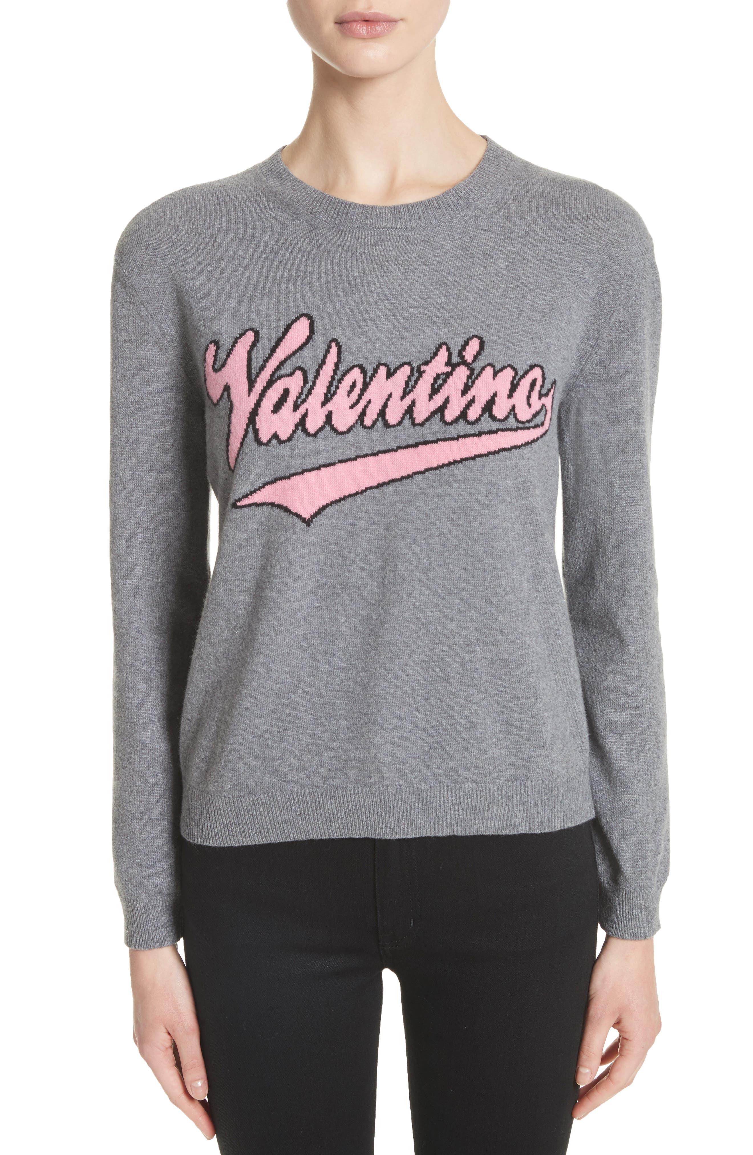 Main Image - Valentino Wool & Cashmere Logo Sweater