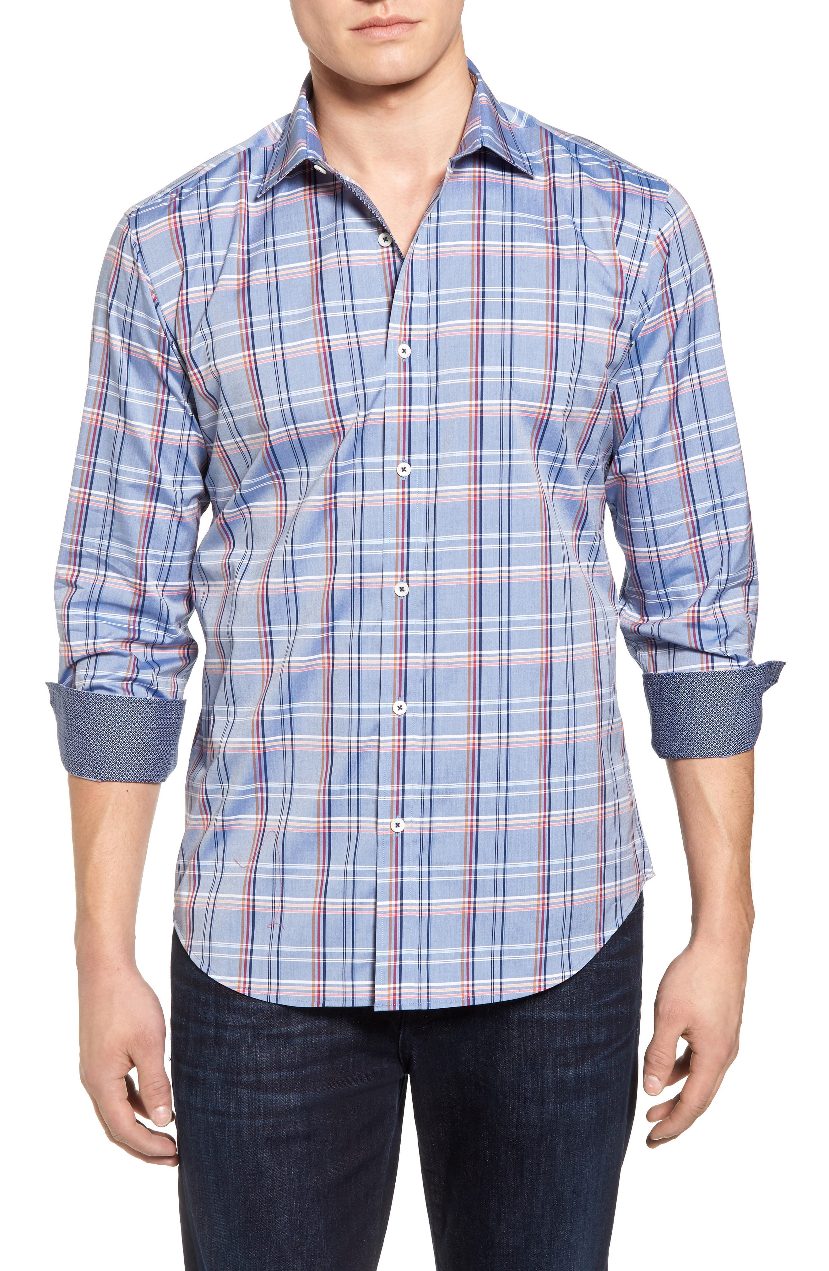 Shaped Fit Plaid Sport Shirt,                             Main thumbnail 1, color,                             Steel