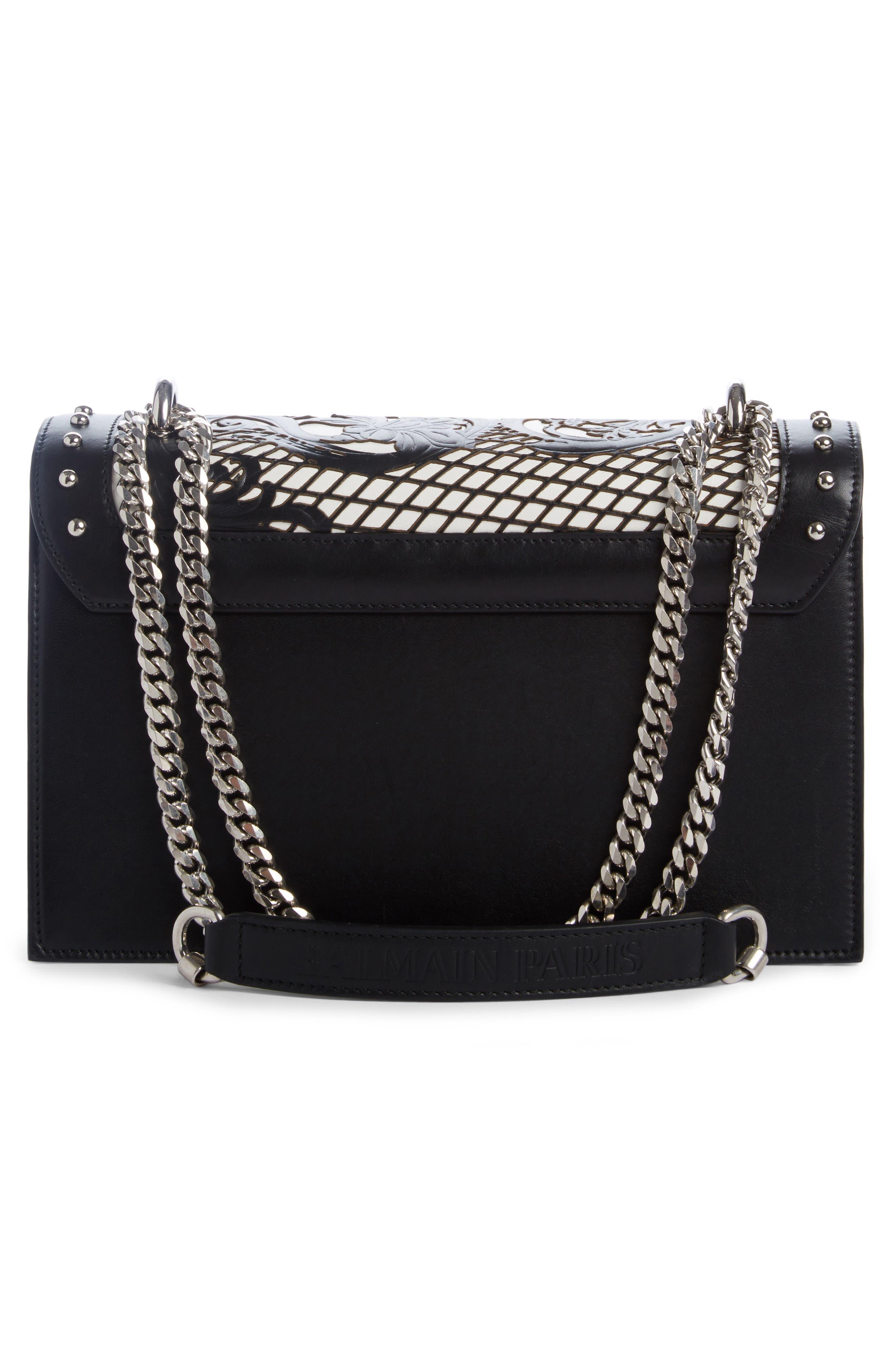 Box Laser Cut Floral Leather Shoulder Bag,                             Alternate thumbnail 2, color,                             Noir/ Blanc