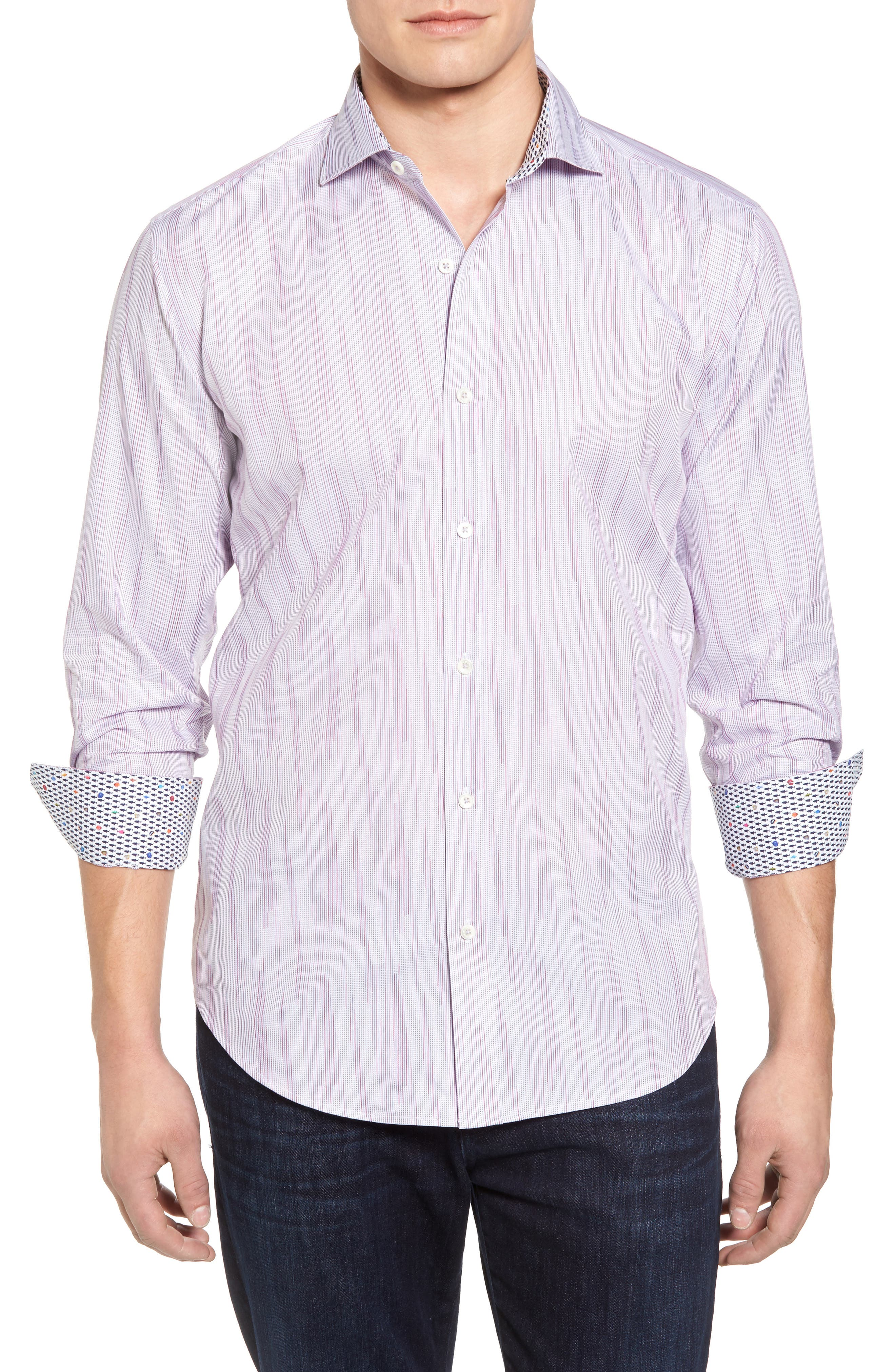 Classic Fit Print Sport Shirt,                         Main,                         color, Berry