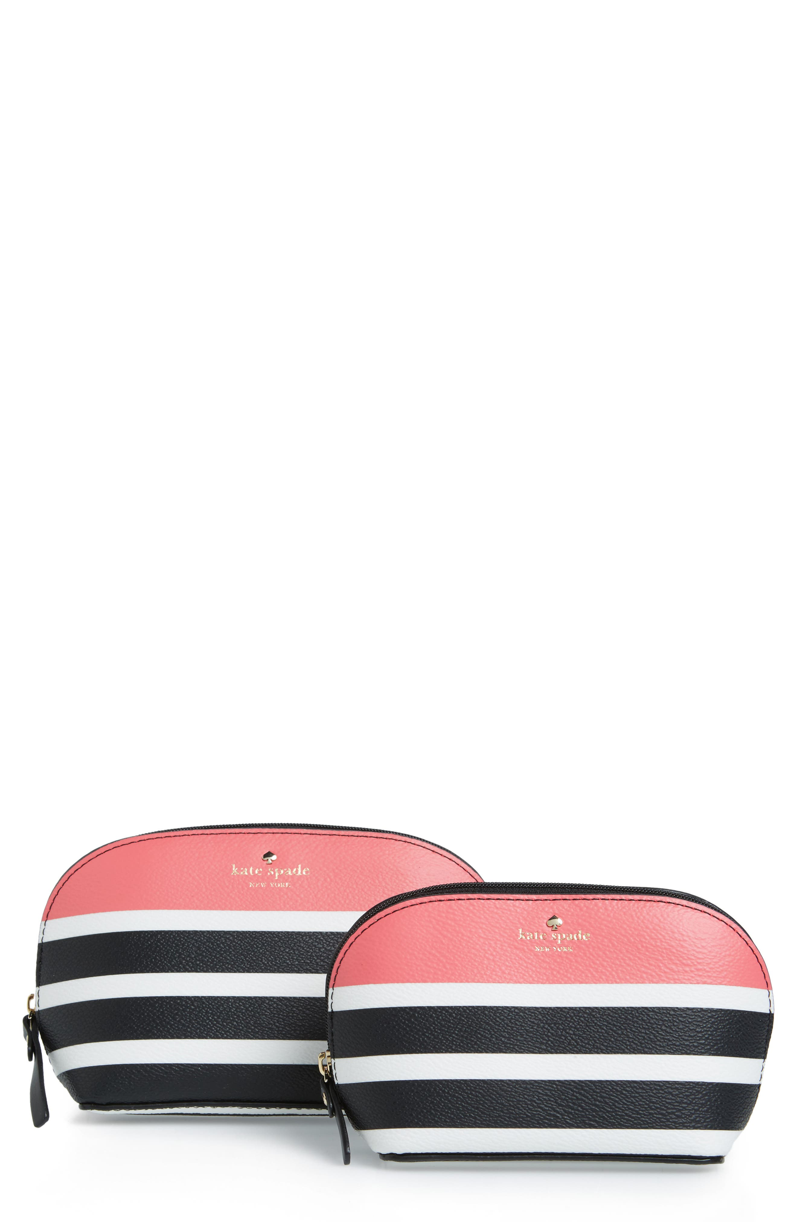 Alternate Image 1 Selected - kate spade new york hyde lane stripe abalene set of 2 faux leather pouches