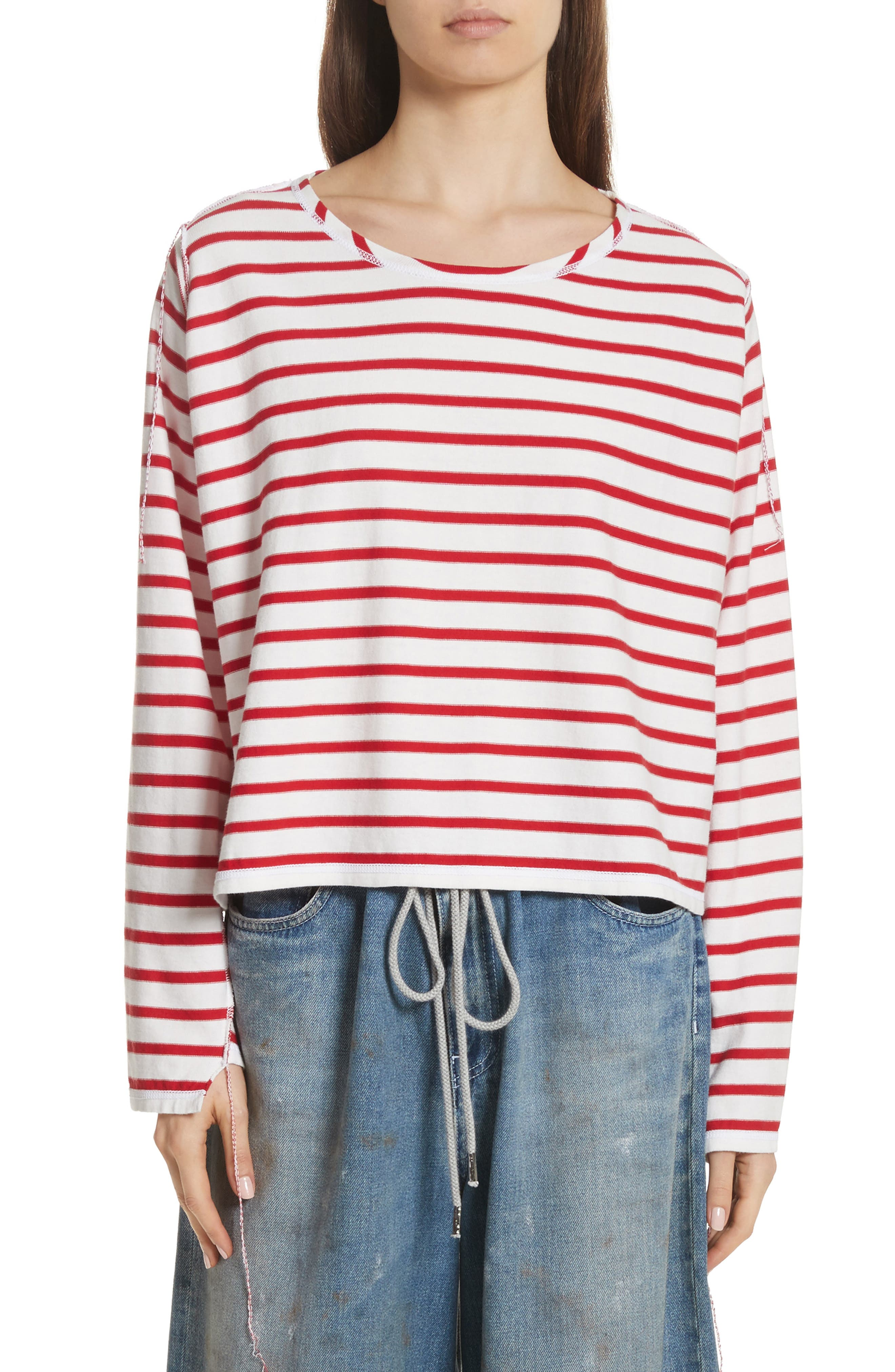 Inside Out Stripe Sweater,                         Main,                         color, Red