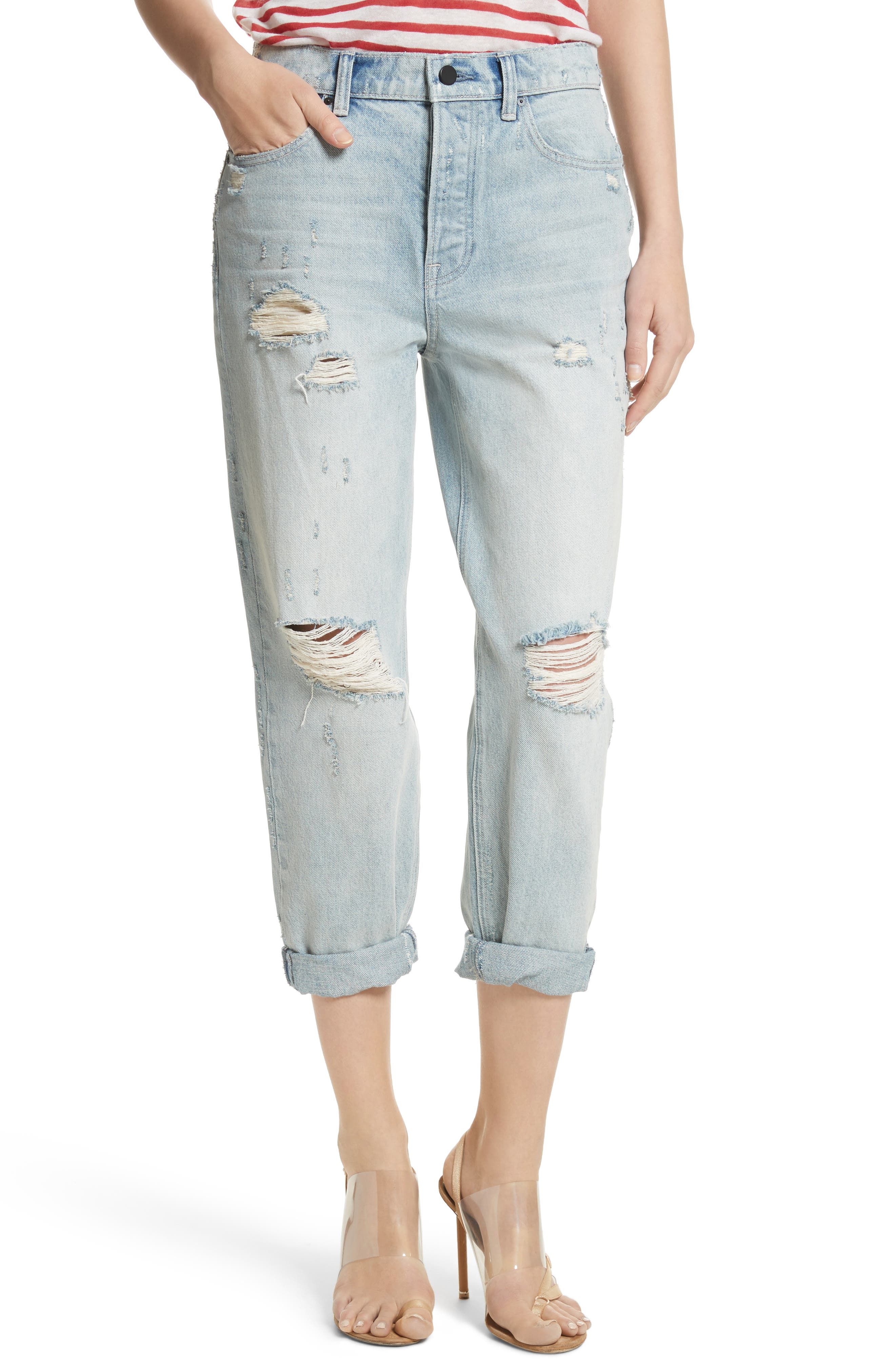Distressed Boyfriend Jeans,                             Main thumbnail 1, color,                             Vintage Bleach