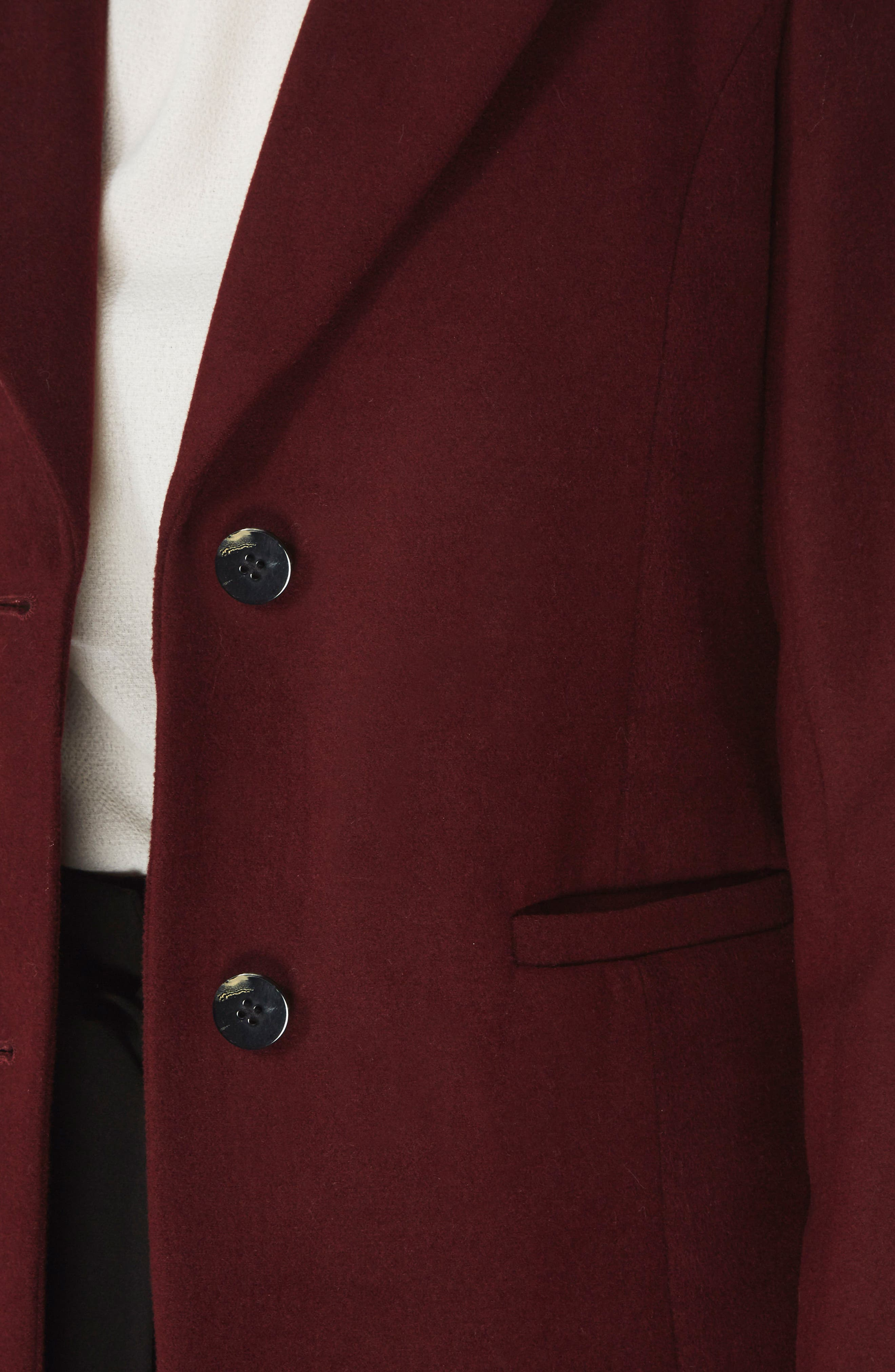 Single Breasted Coat,                             Alternate thumbnail 4, color,                             Berry Red