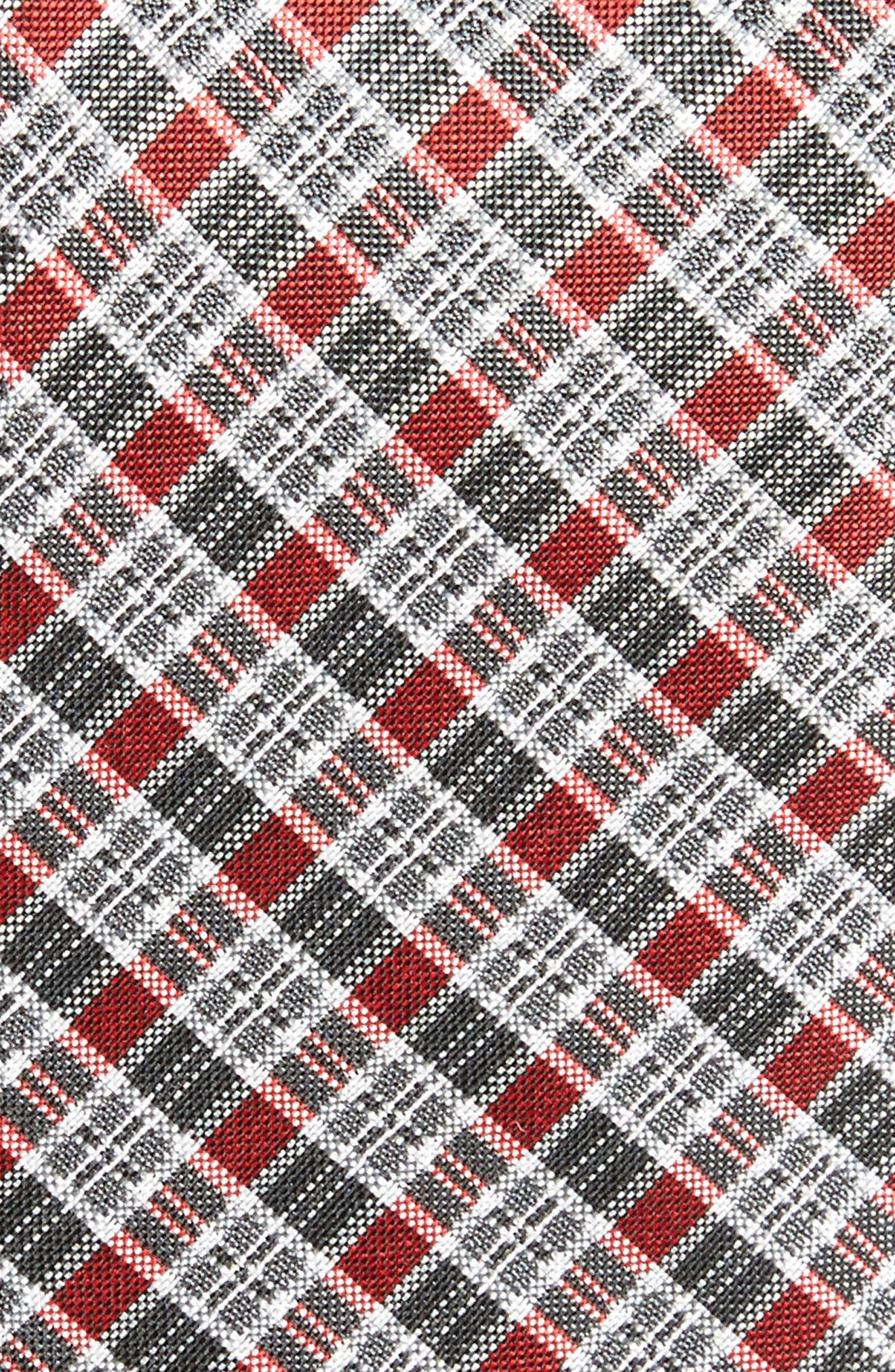 Plaid Silk Tie,                             Alternate thumbnail 2, color,                             Red