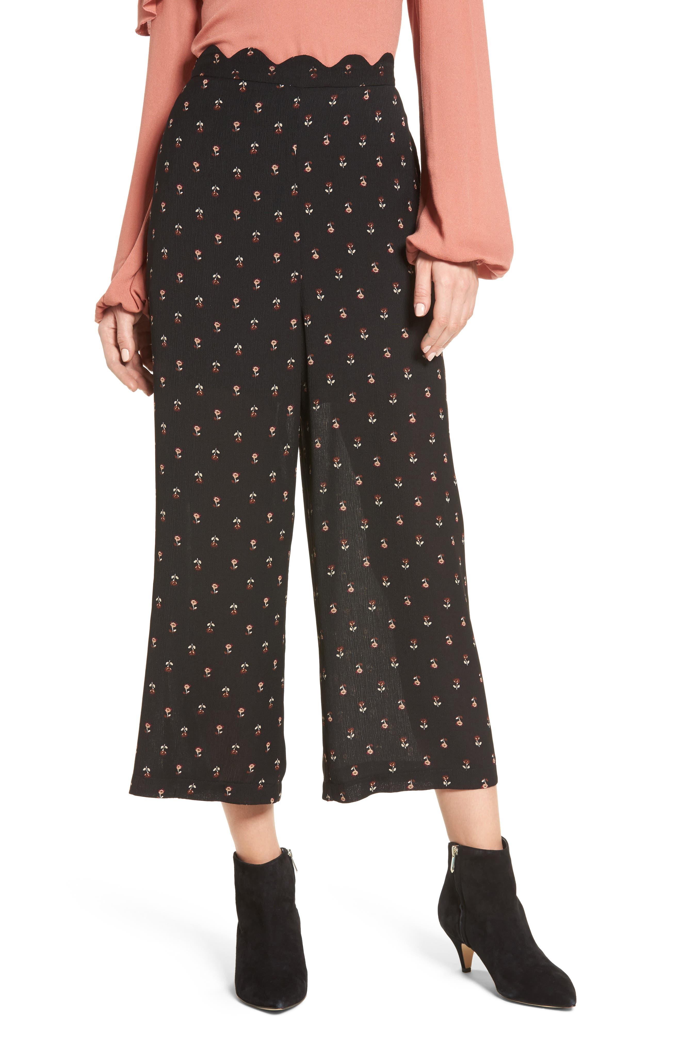 Scalloped Waist Wide Leg Crop Pants,                         Main,                         color, Black Mini Floral