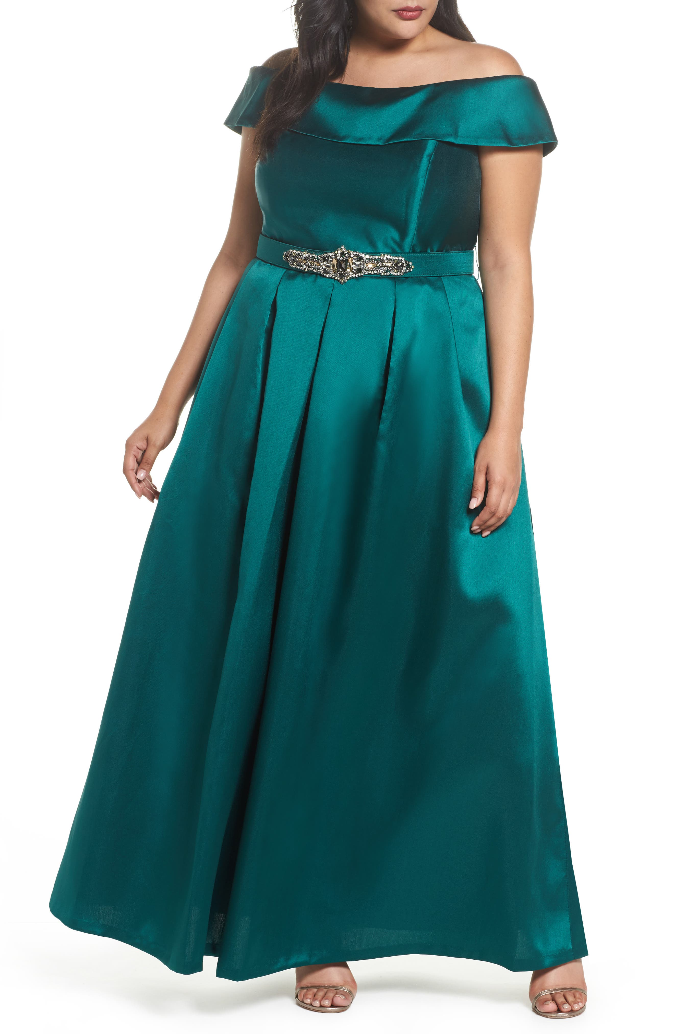 Off the Shoulder Ballgown,                             Main thumbnail 1, color,                             Emerald
