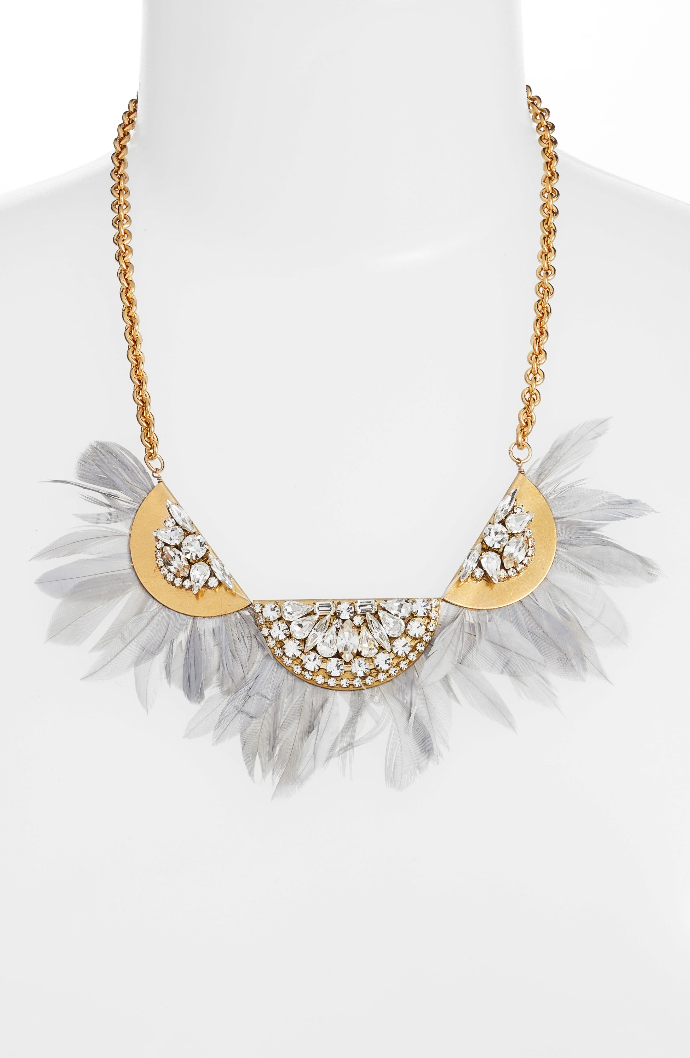 Feather Bib Necklace,                             Alternate thumbnail 2, color,                             Grey/ Gold