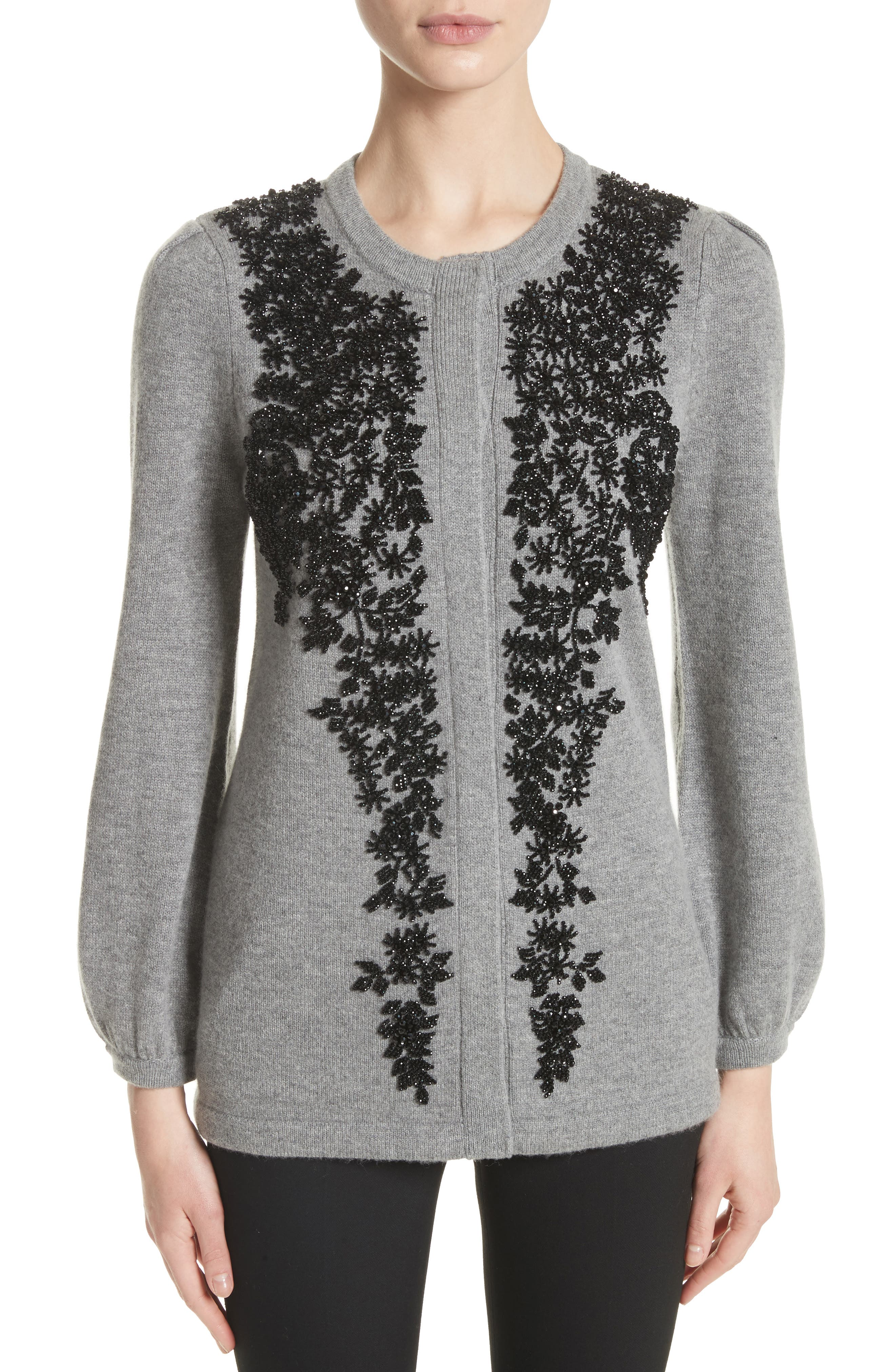 Beaded Wool & Cashmere Sweater,                         Main,                         color, Grey/ Black