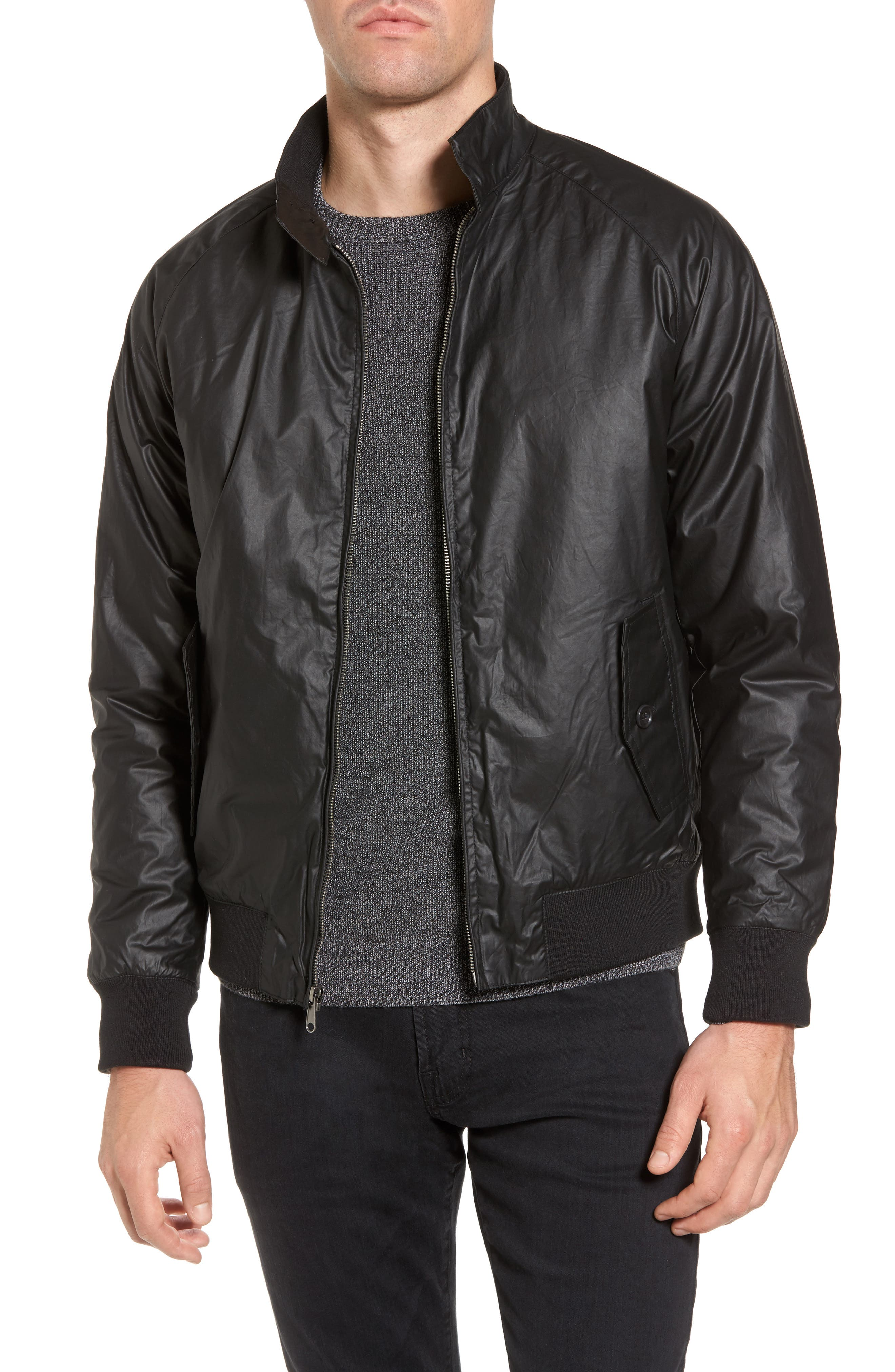 Insulated Harrington Jacket,                             Main thumbnail 1, color,                             Black