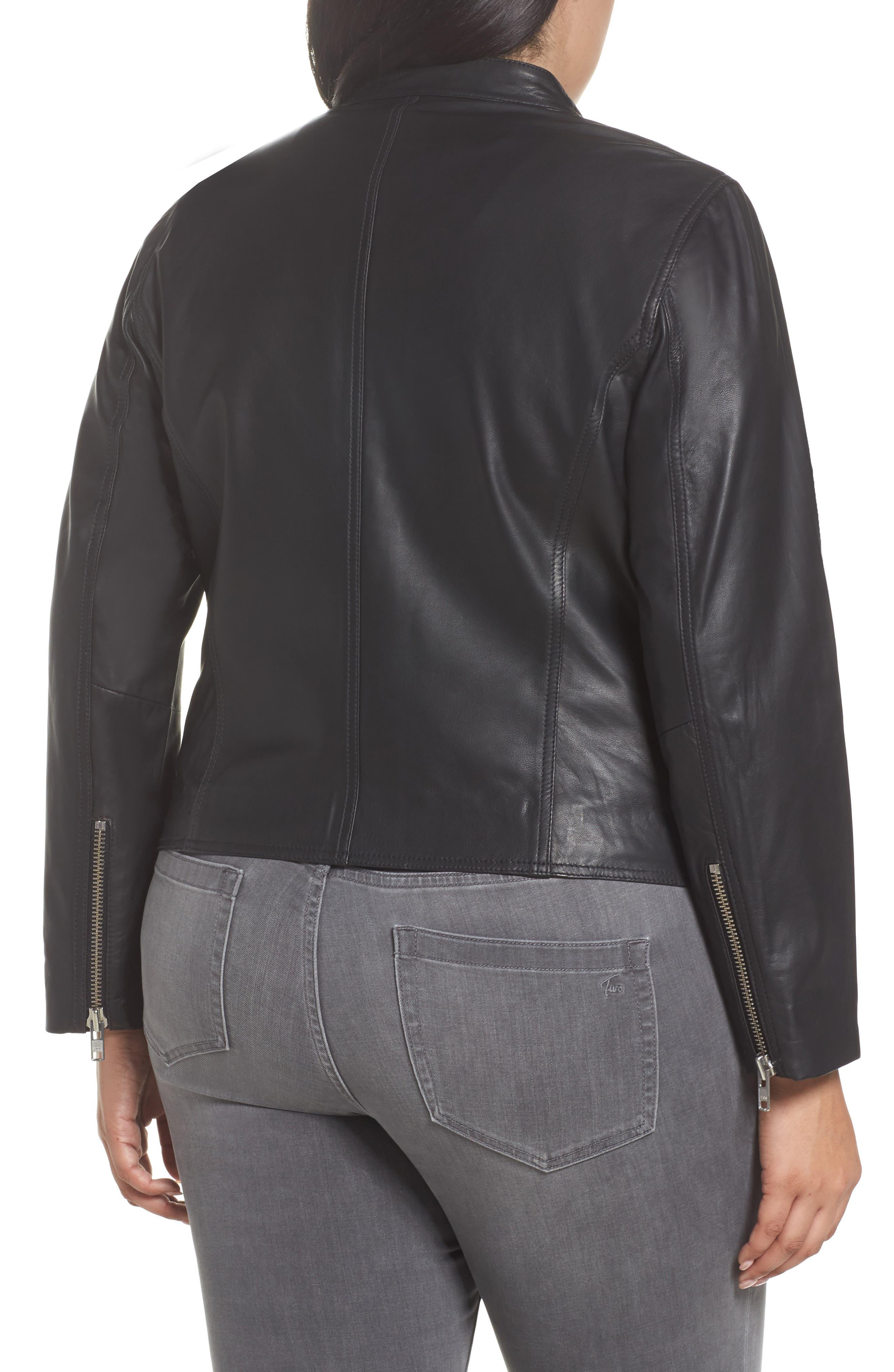 Alternate Image 2  - Halogen® Leather Moto Jacket (Plus Size)