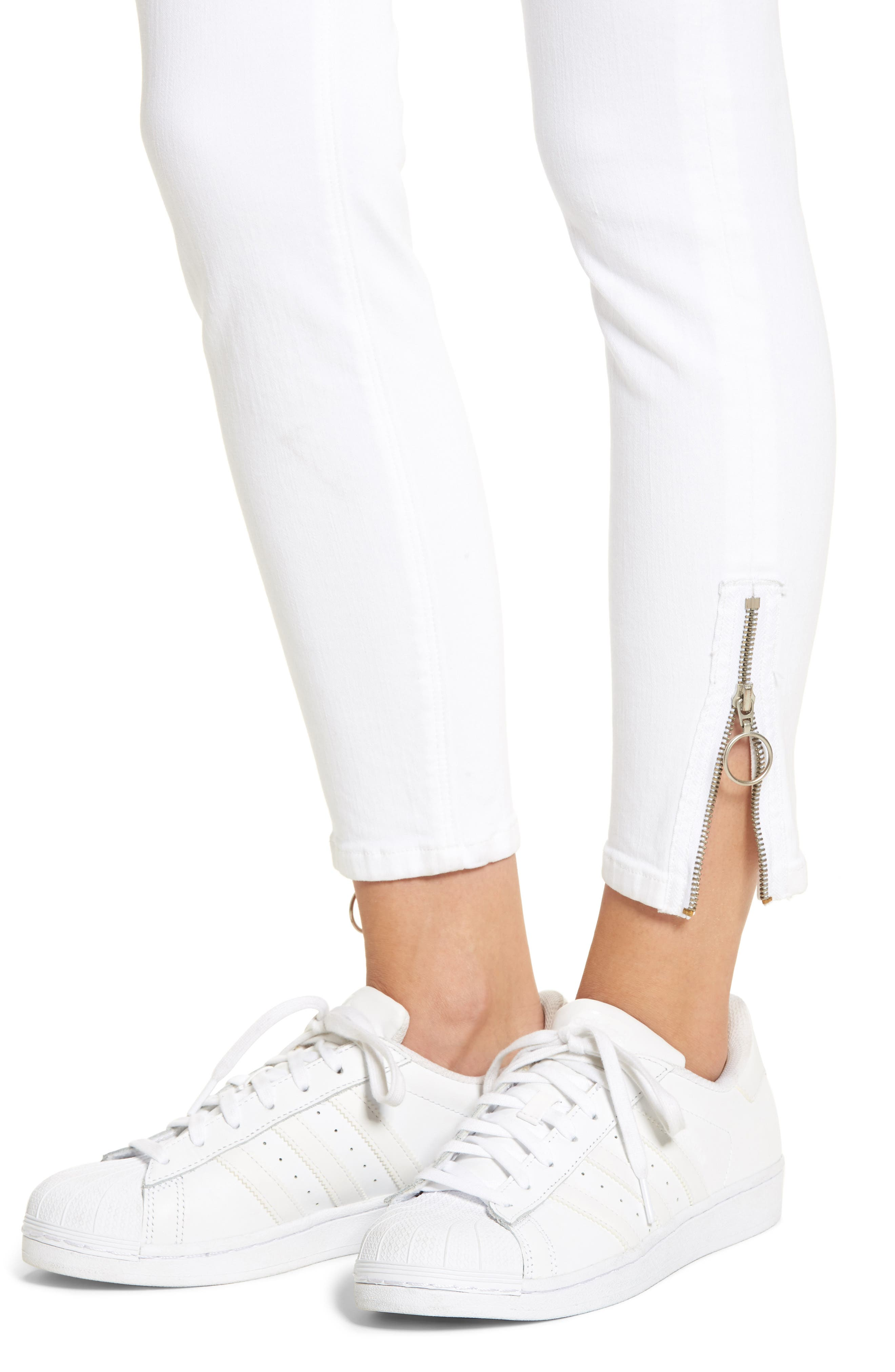 Barbara High Waist Ankle Skinny Jeans,                             Alternate thumbnail 4, color,                             Optical White