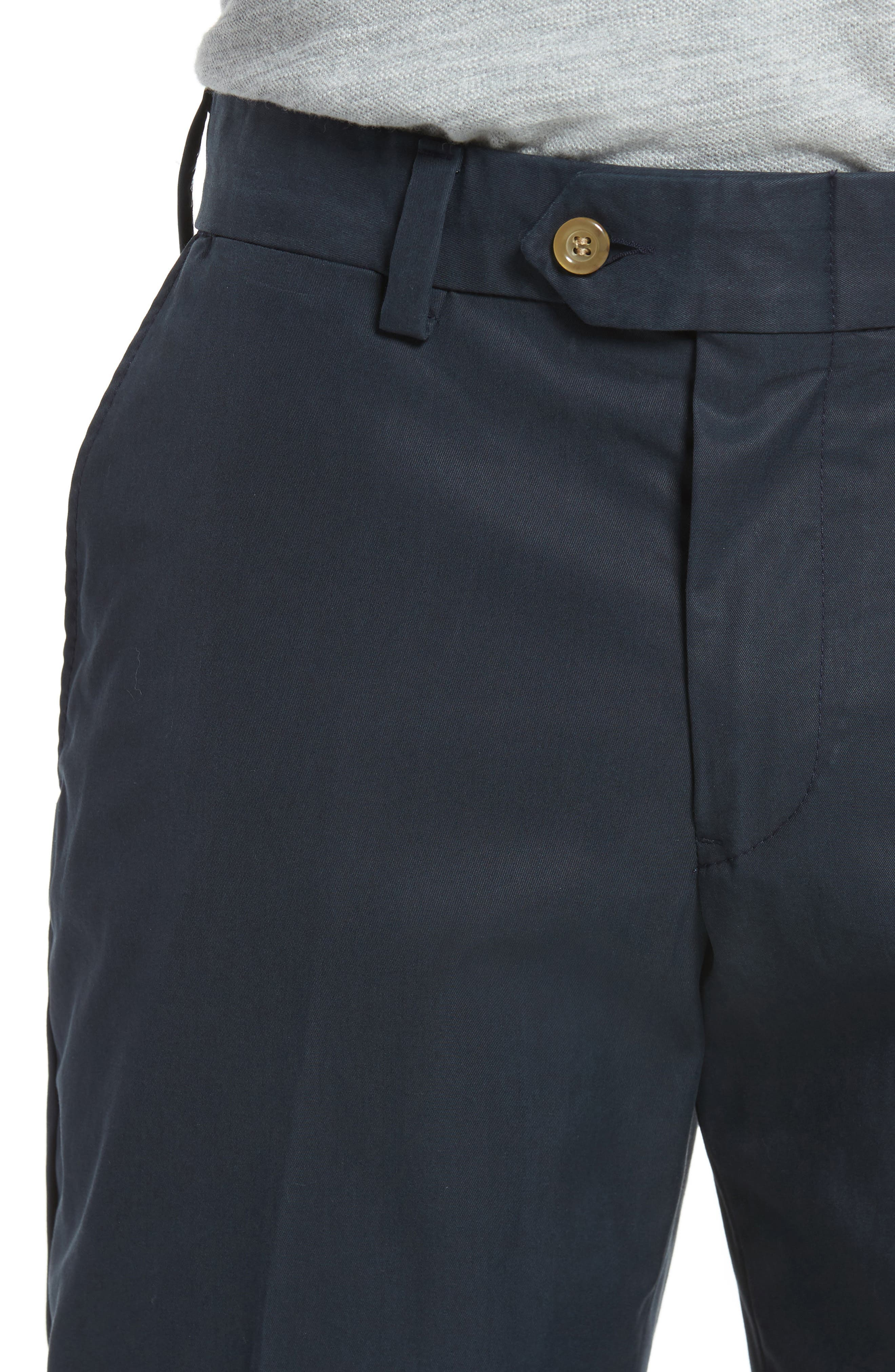 Straight Fit Travel Twill Pants,                             Alternate thumbnail 4, color,                             Navy