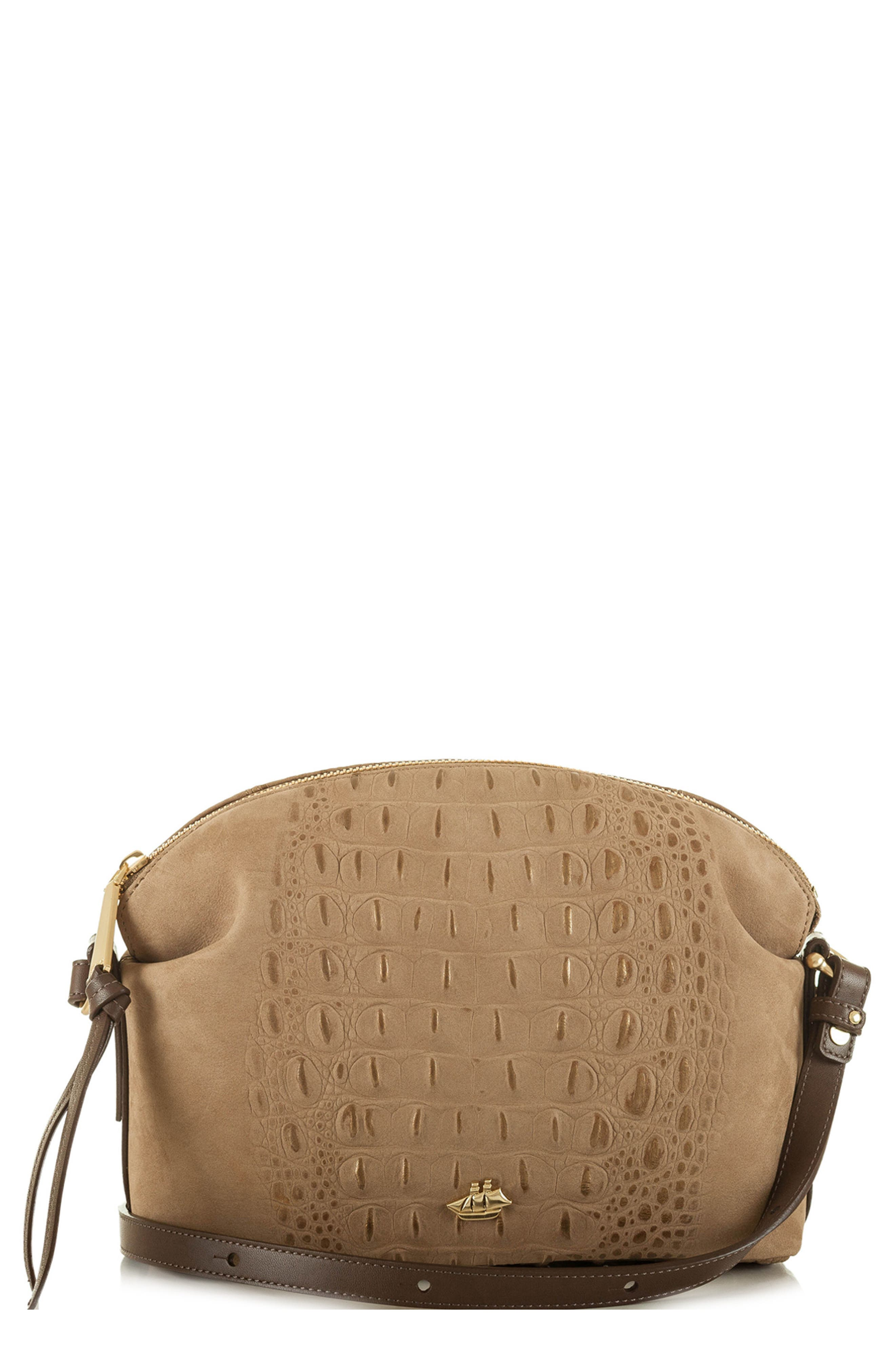 Southcast Haley Metallic Croc Embossed Leather Crossbody Bag,                         Main,                         color, Gold