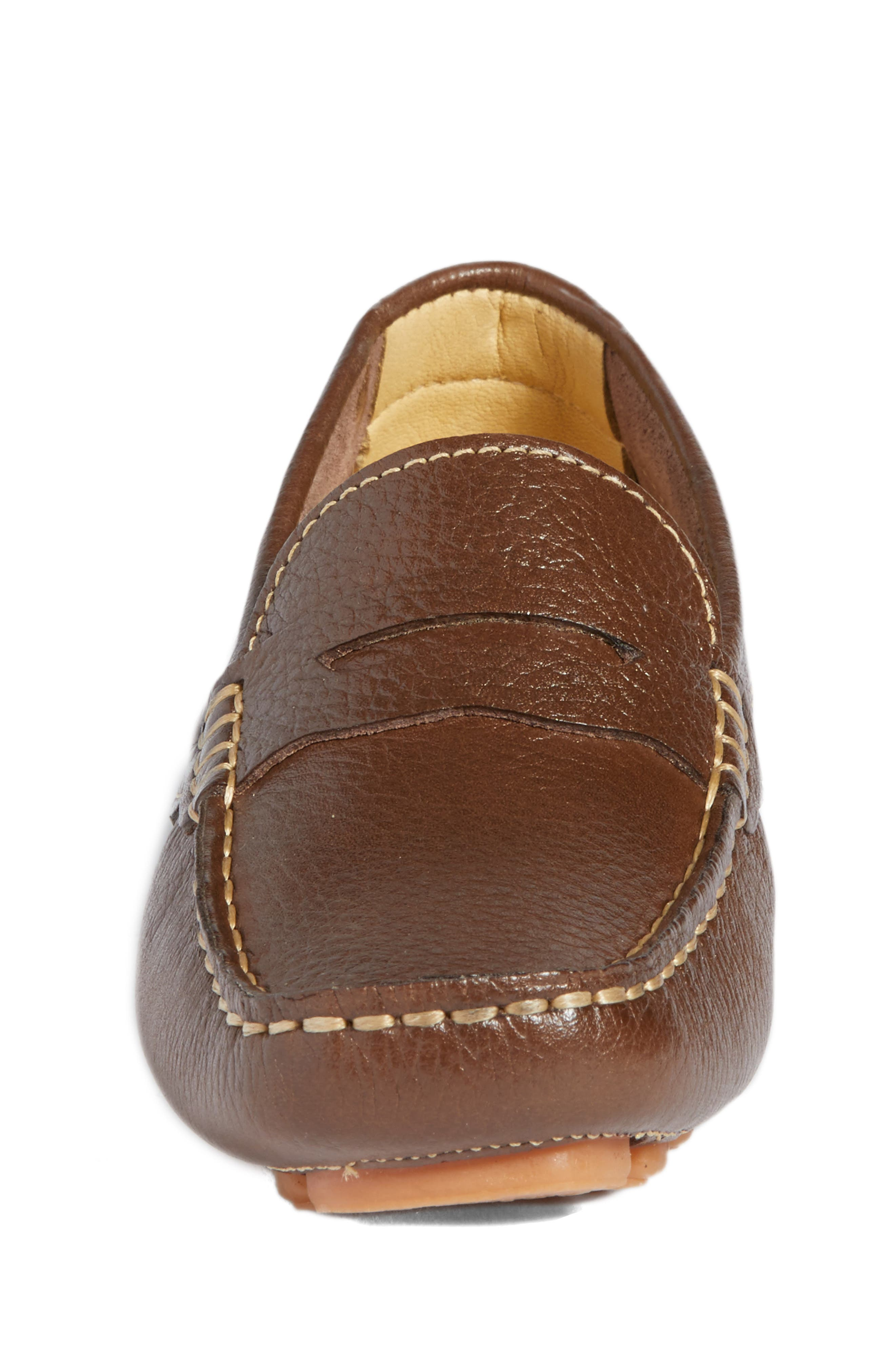Matteo Moccasin,                             Alternate thumbnail 4, color,                             Brown Leather