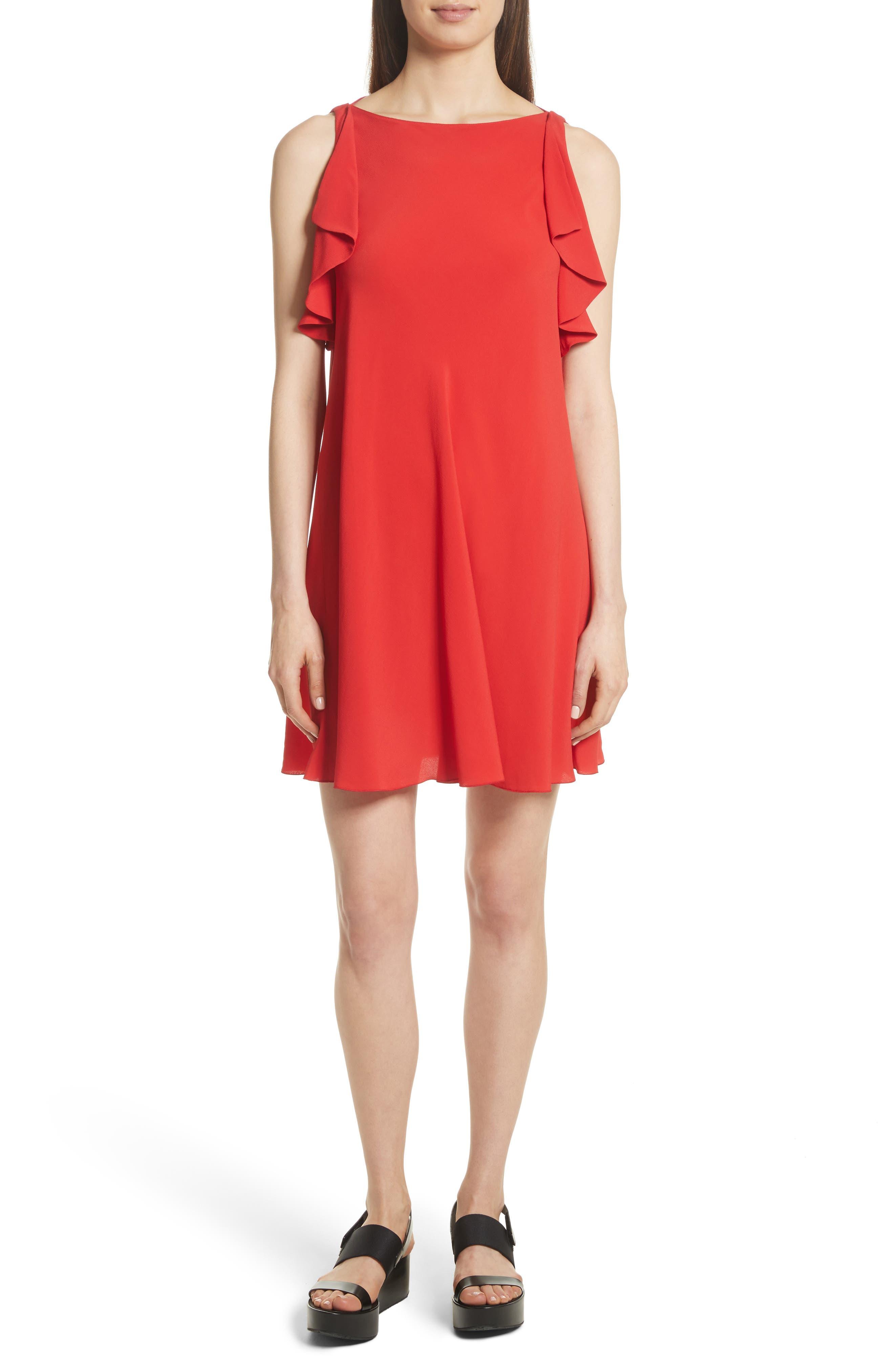 Ruffle Trim A-Line Dress,                             Main thumbnail 1, color,                             Red