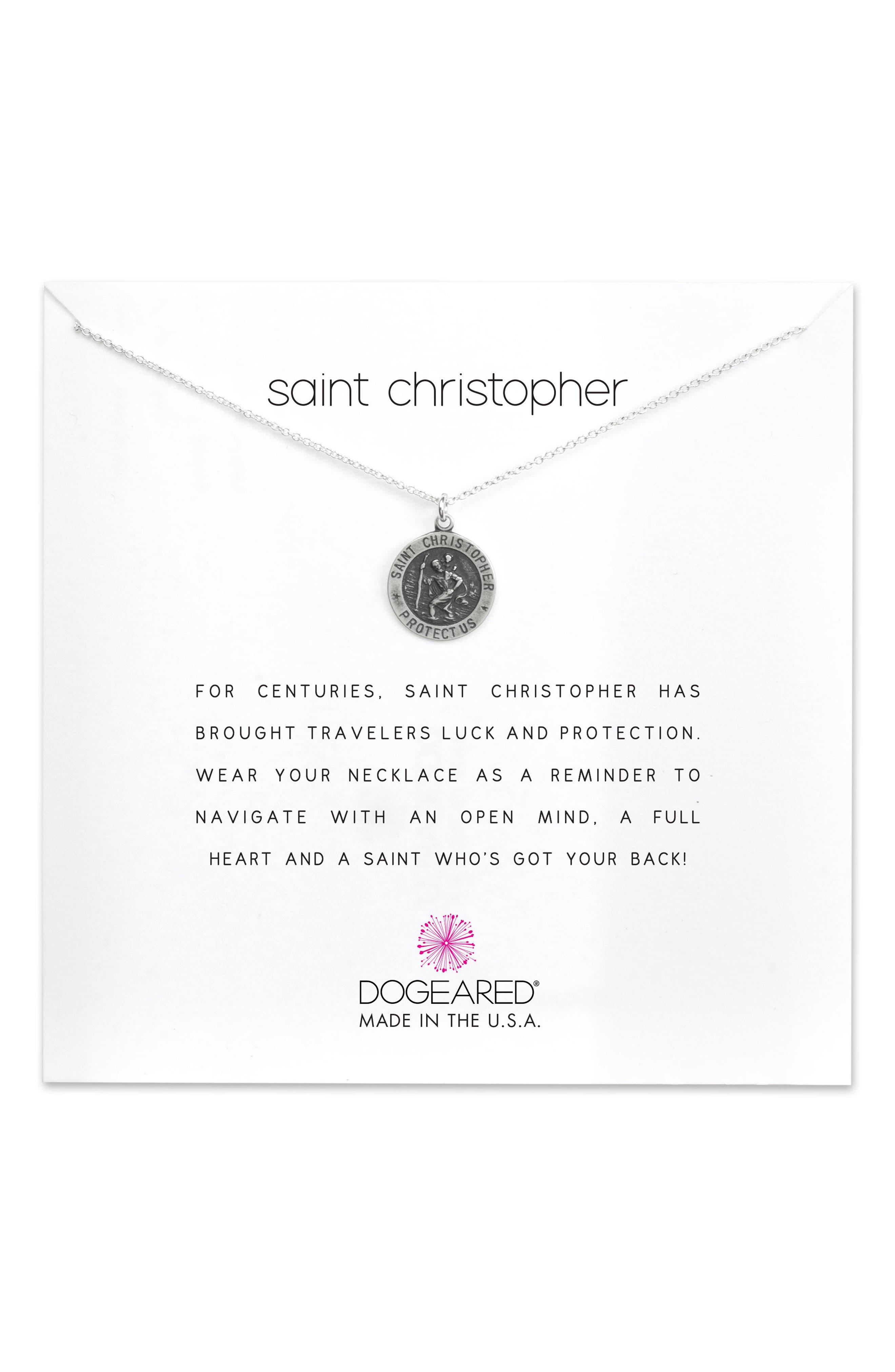 St. Christopher Pendant Necklace,                             Main thumbnail 1, color,                             Silver