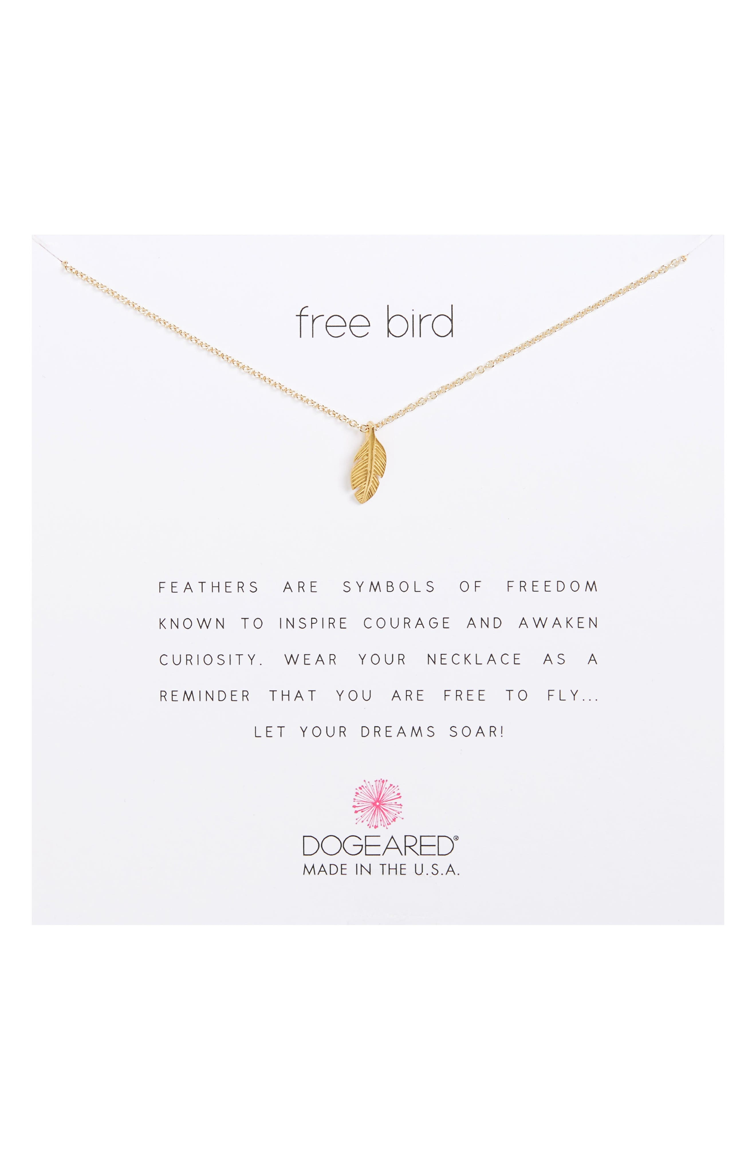 Reminder - Free Bird Pendant Necklace,                             Main thumbnail 1, color,                             Gold