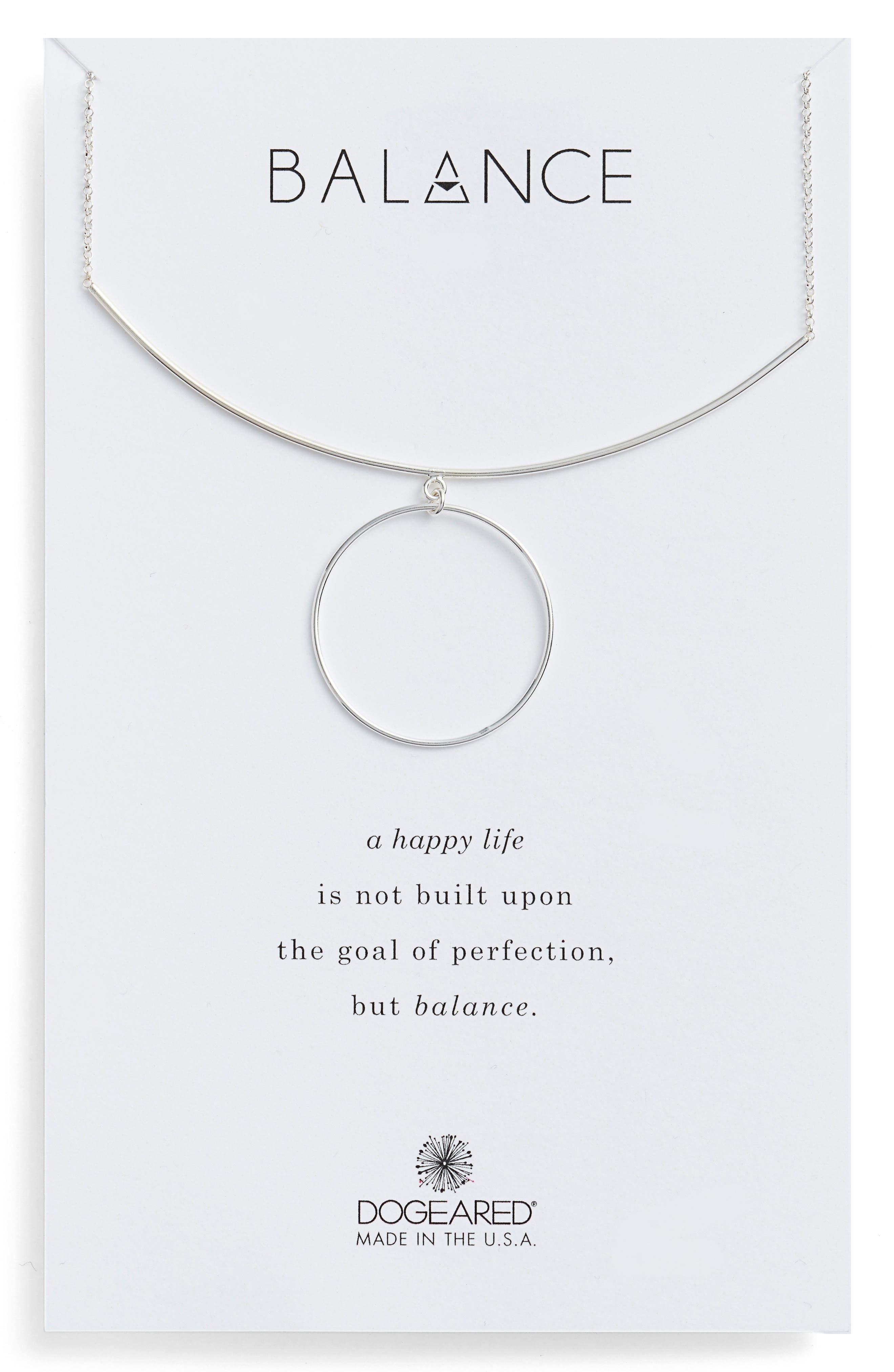 Balance Bar & Ring Pendant Necklace,                             Main thumbnail 1, color,                             Silver