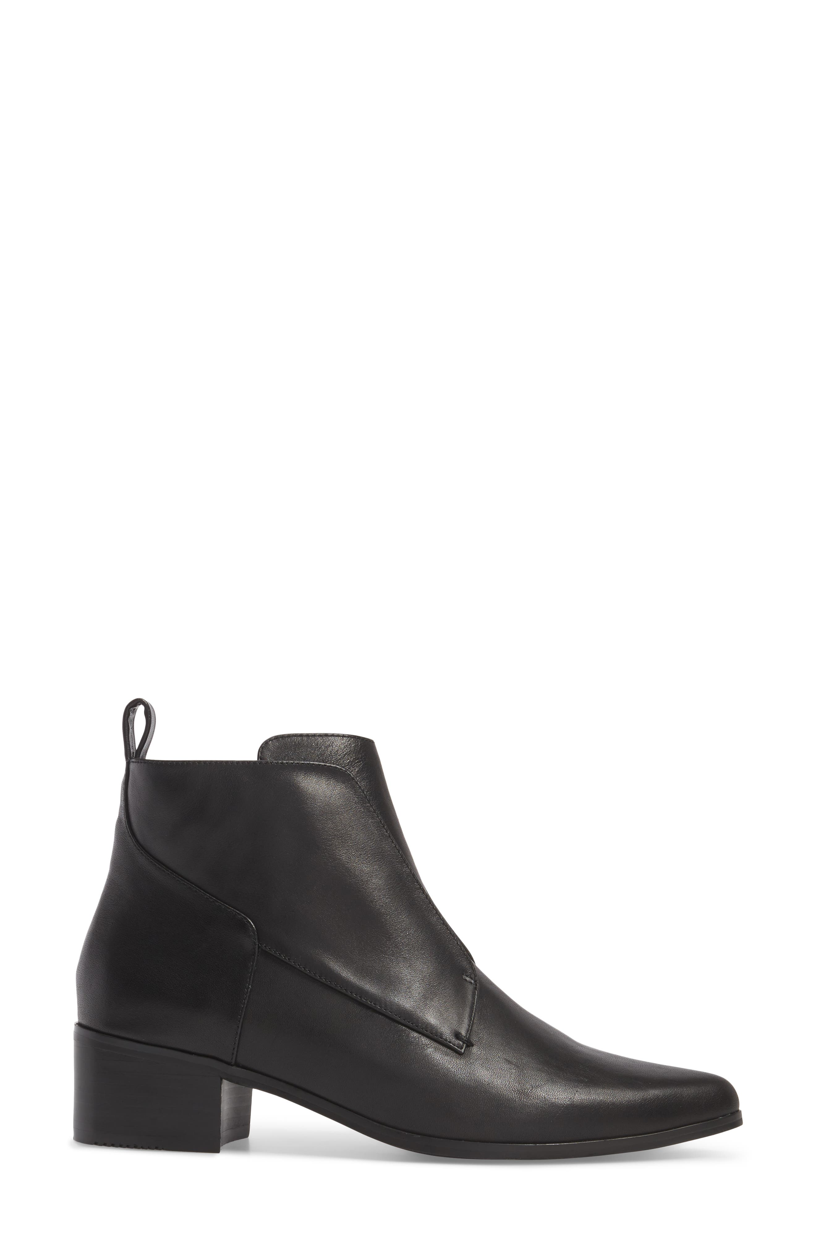 Walter Laceless Bootie,                             Alternate thumbnail 3, color,                             Black Leather