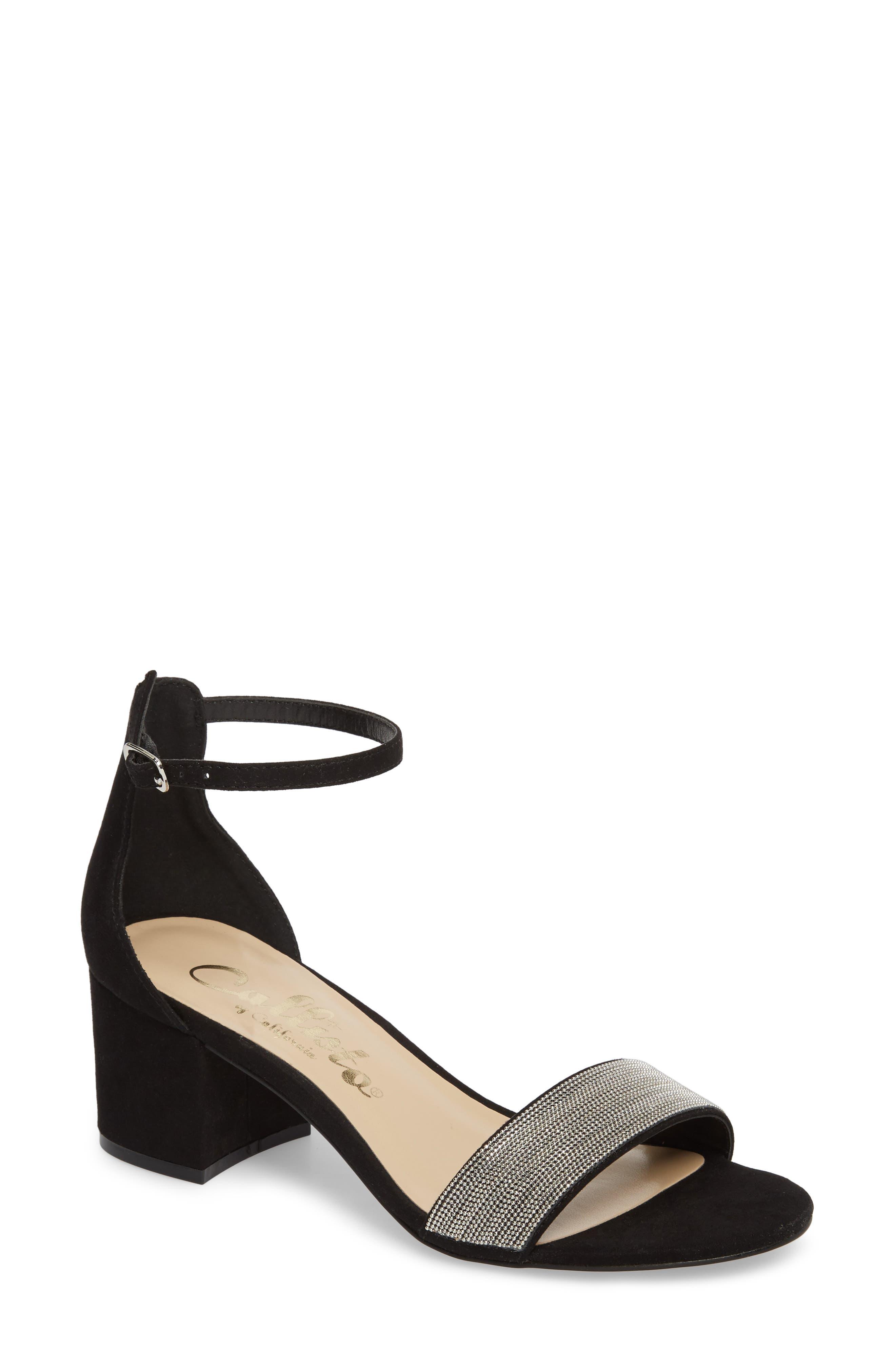 Jazmine Ankle Strap Sandal,                             Main thumbnail 1, color,                             Black Suede