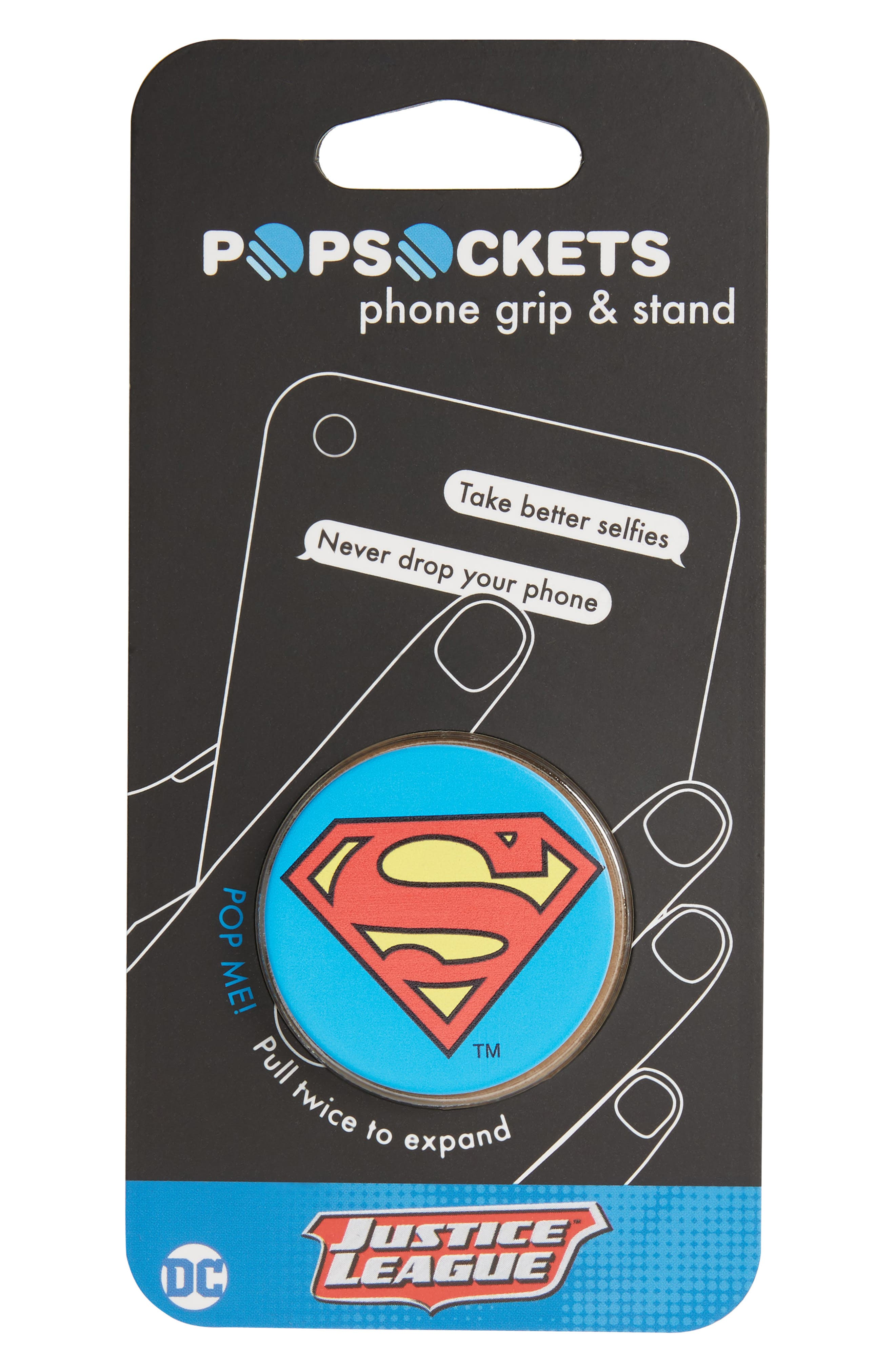 DC Superman Cell Phone Grip & Stand,                             Main thumbnail 1, color,                             Dc Superman Icon