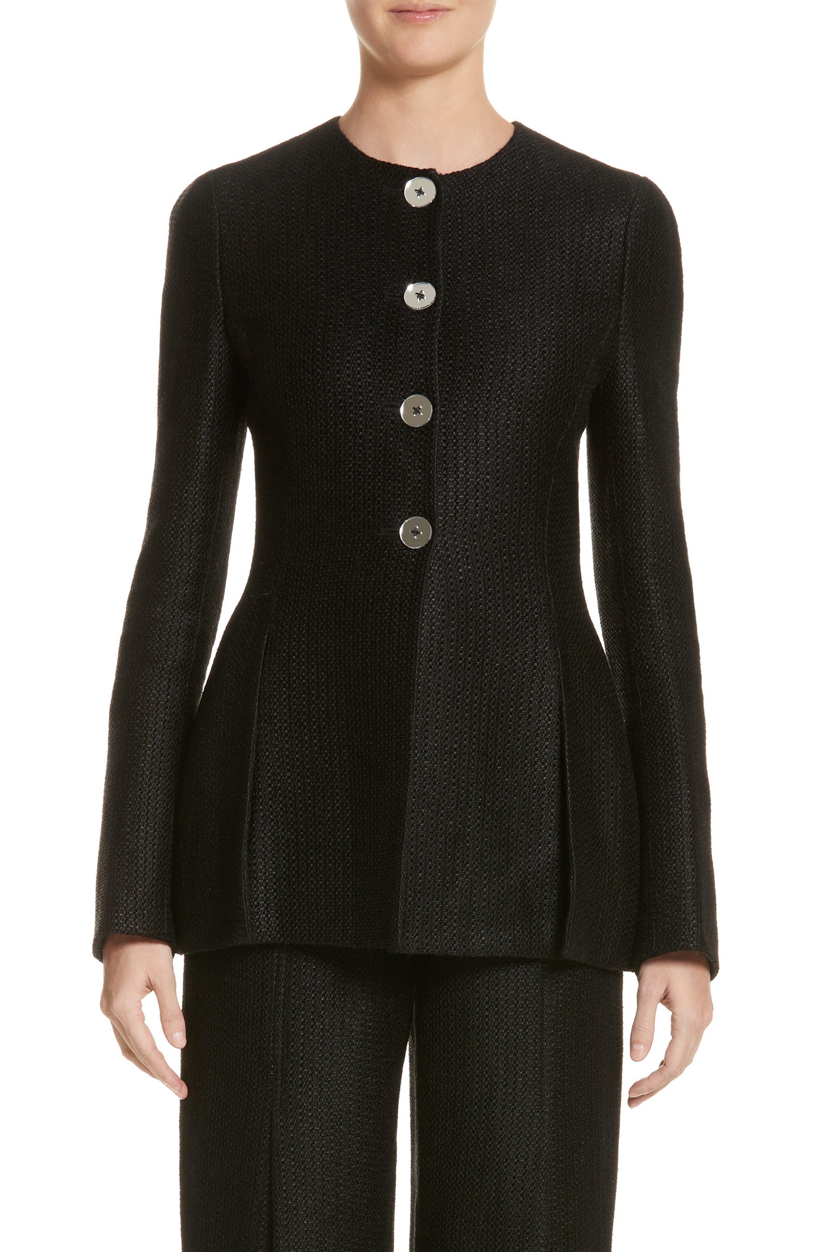 Linen & Silk Blend Tweed Jacket,                         Main,                         color, Black