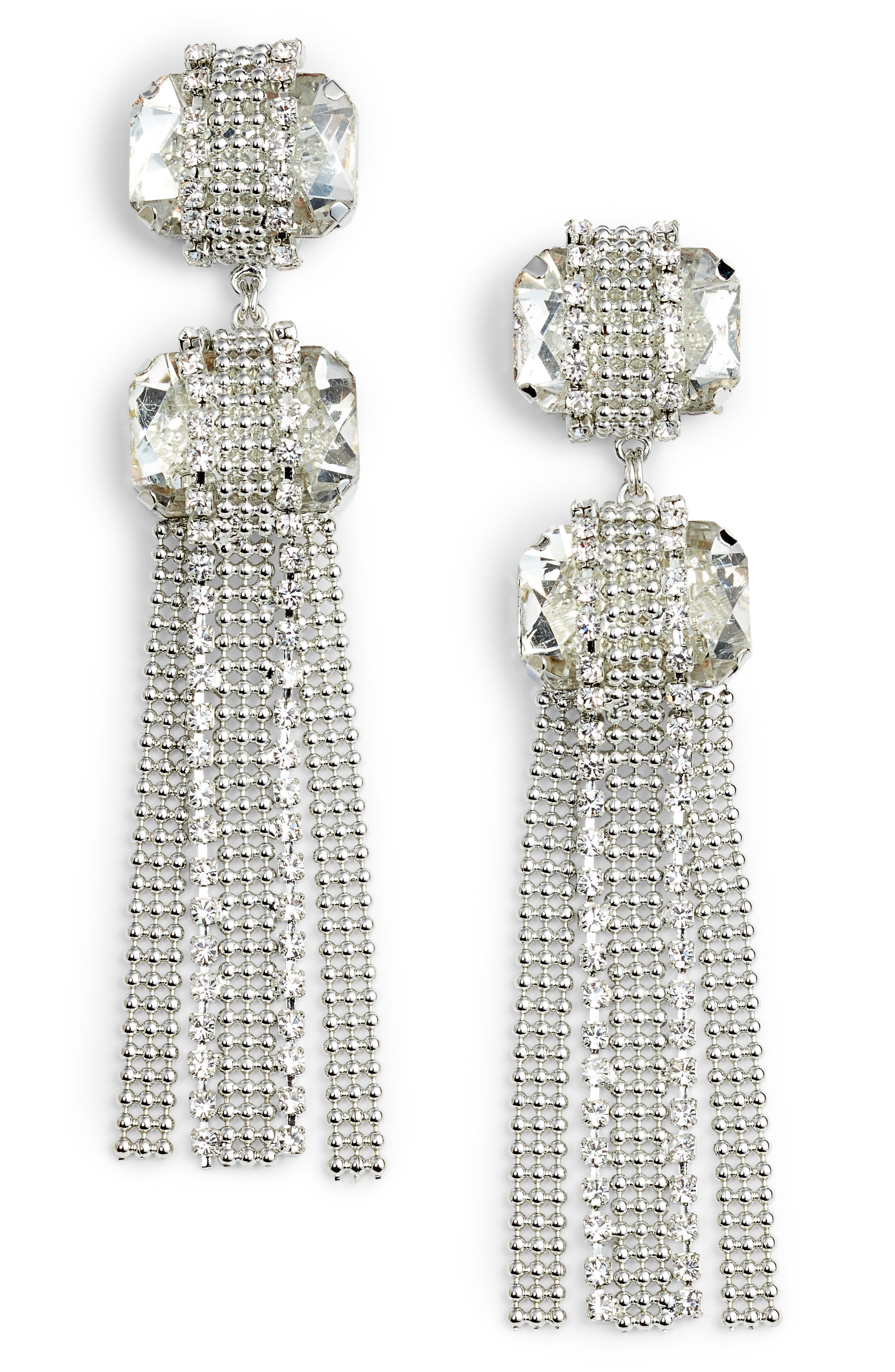 Alternate Image 1 Selected - CRISTABELLE Crystal Ball Chain Drop Earrings