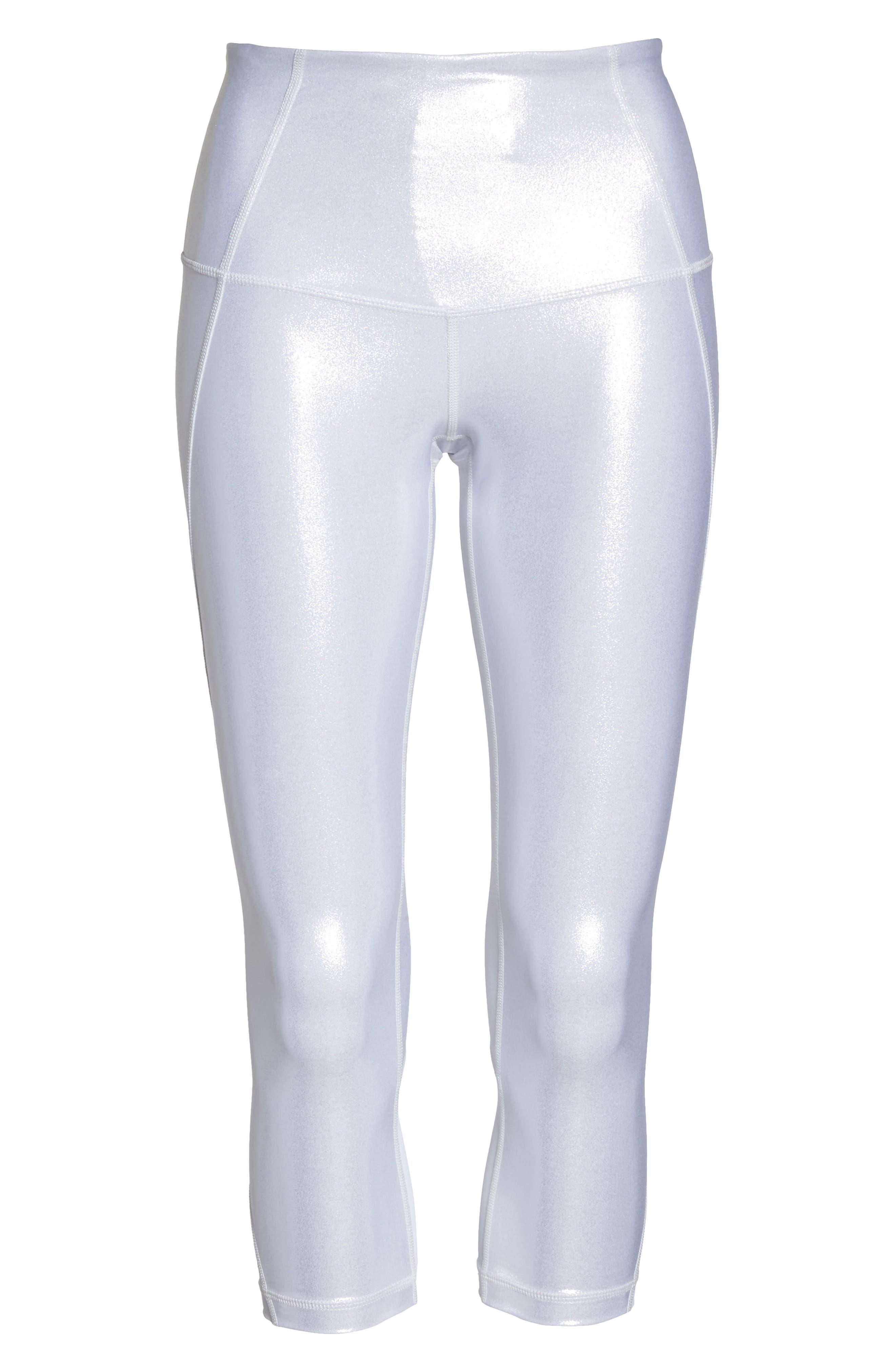 Hatha Glitter High Waist Crop Leggings,                             Alternate thumbnail 7, color,                             Silver