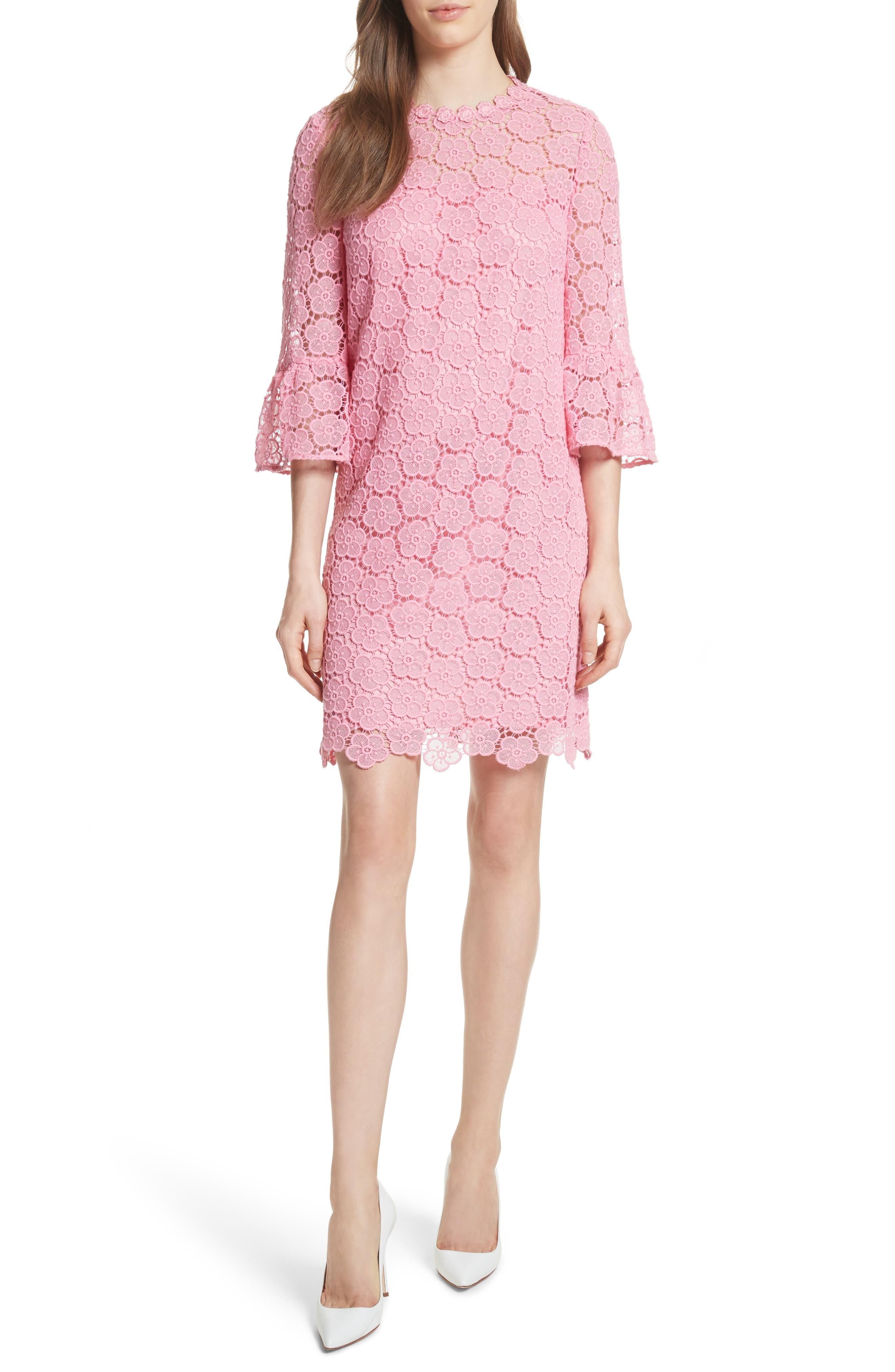 bloom flower lace shift dress,                             Main thumbnail 1, color,                             Parisian Pink