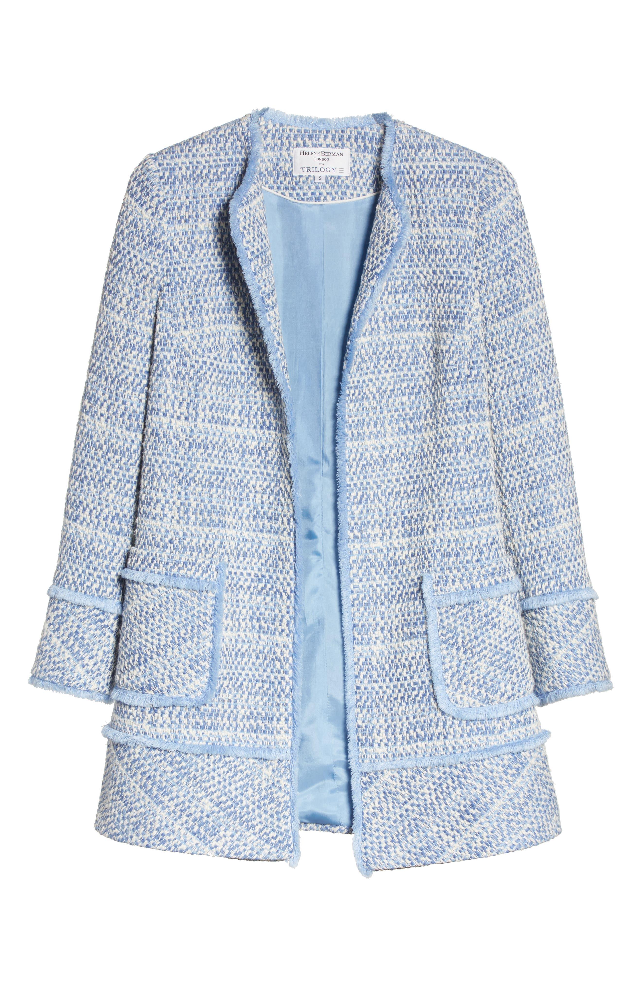 Long Tweed Jacket,                             Alternate thumbnail 6, color,                             Pale Blue