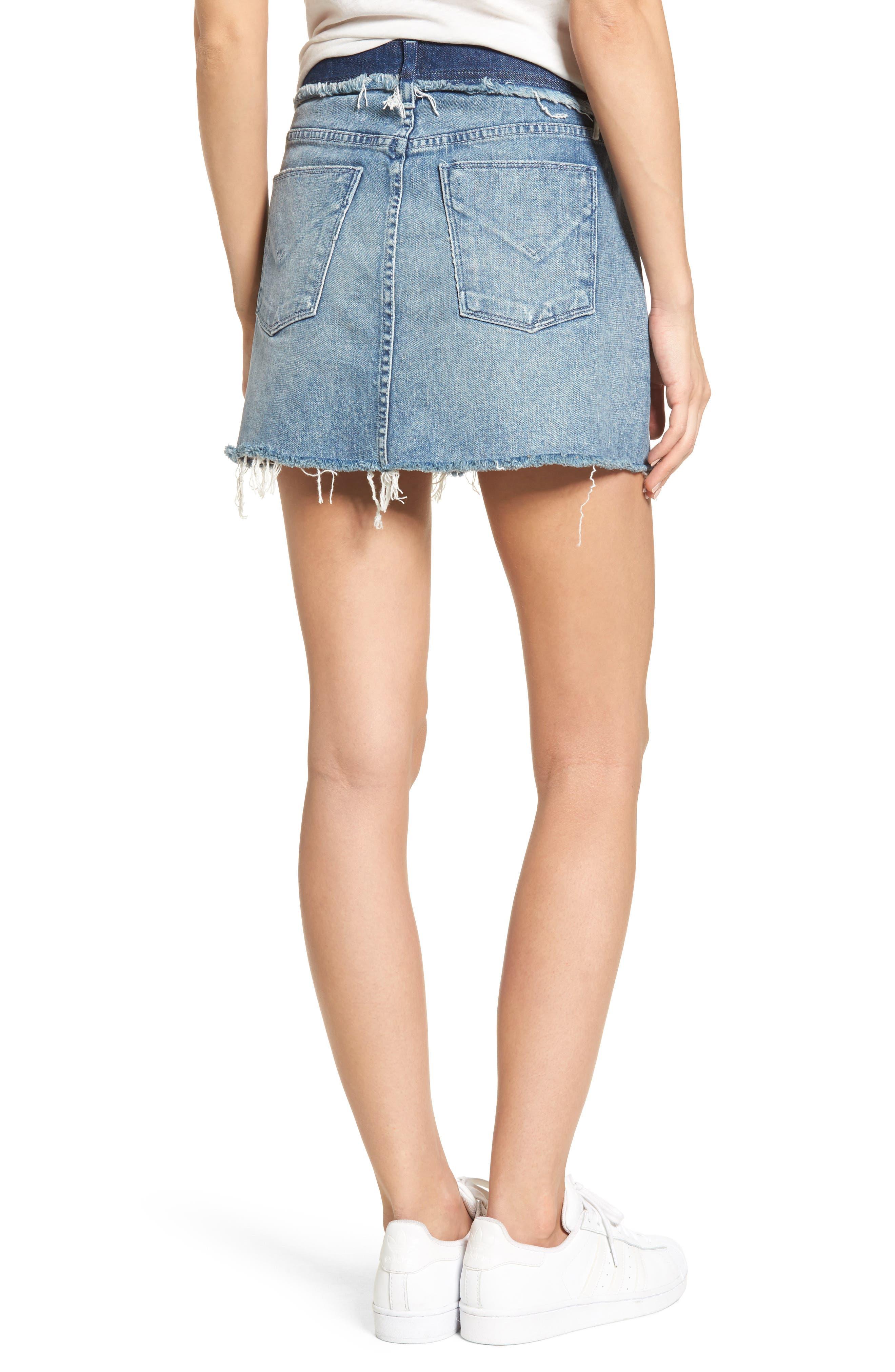 Vivid Cutoff Denim Miniskirt,                             Alternate thumbnail 2, color,                             Rock Steady