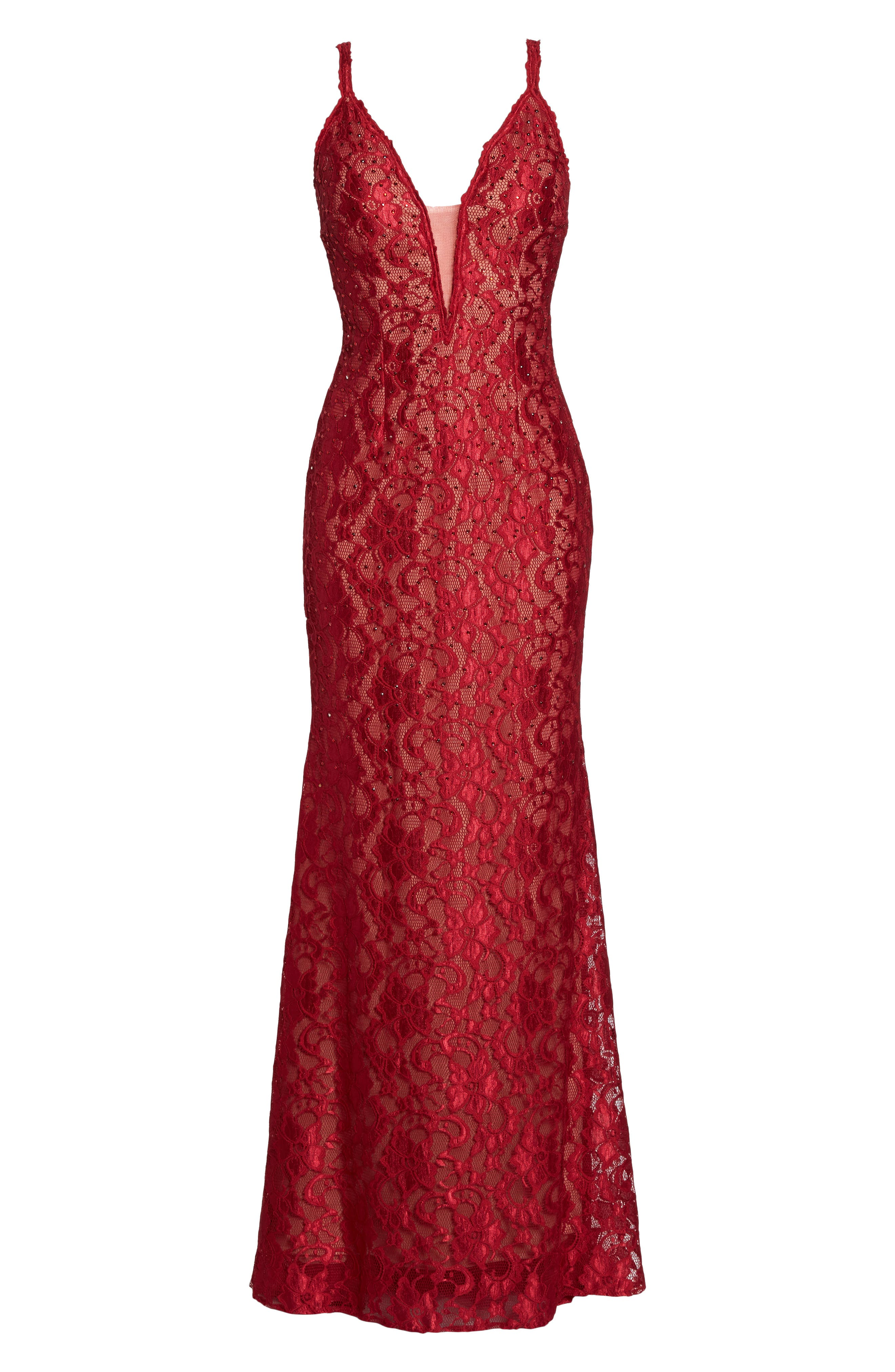Plunging Beaded Lace Mermaid Gown,                             Alternate thumbnail 6, color,                             Red/ Tan